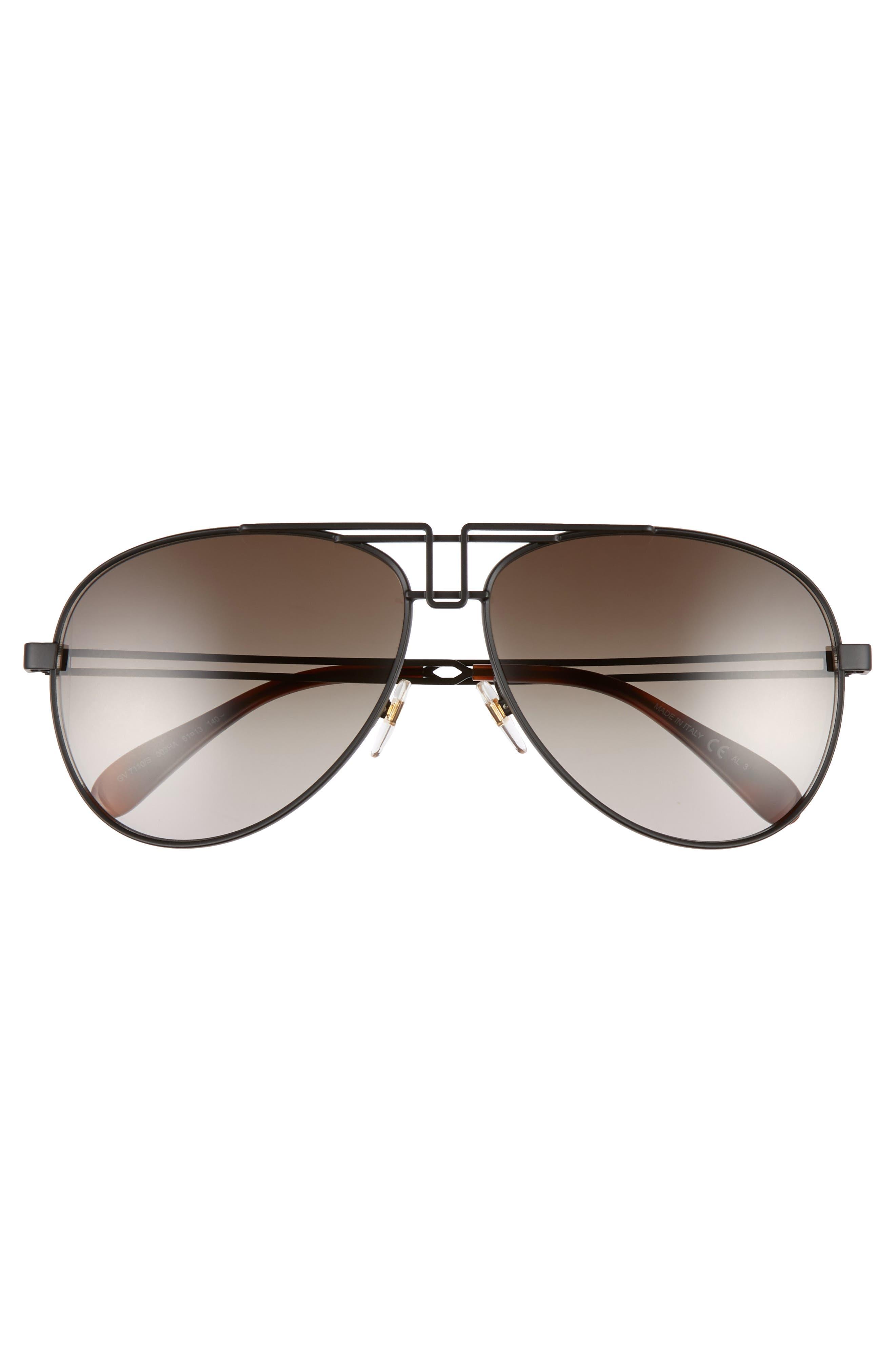 61mm Aviator Sunglasses,                             Alternate thumbnail 3, color,                             MATTE BLACK