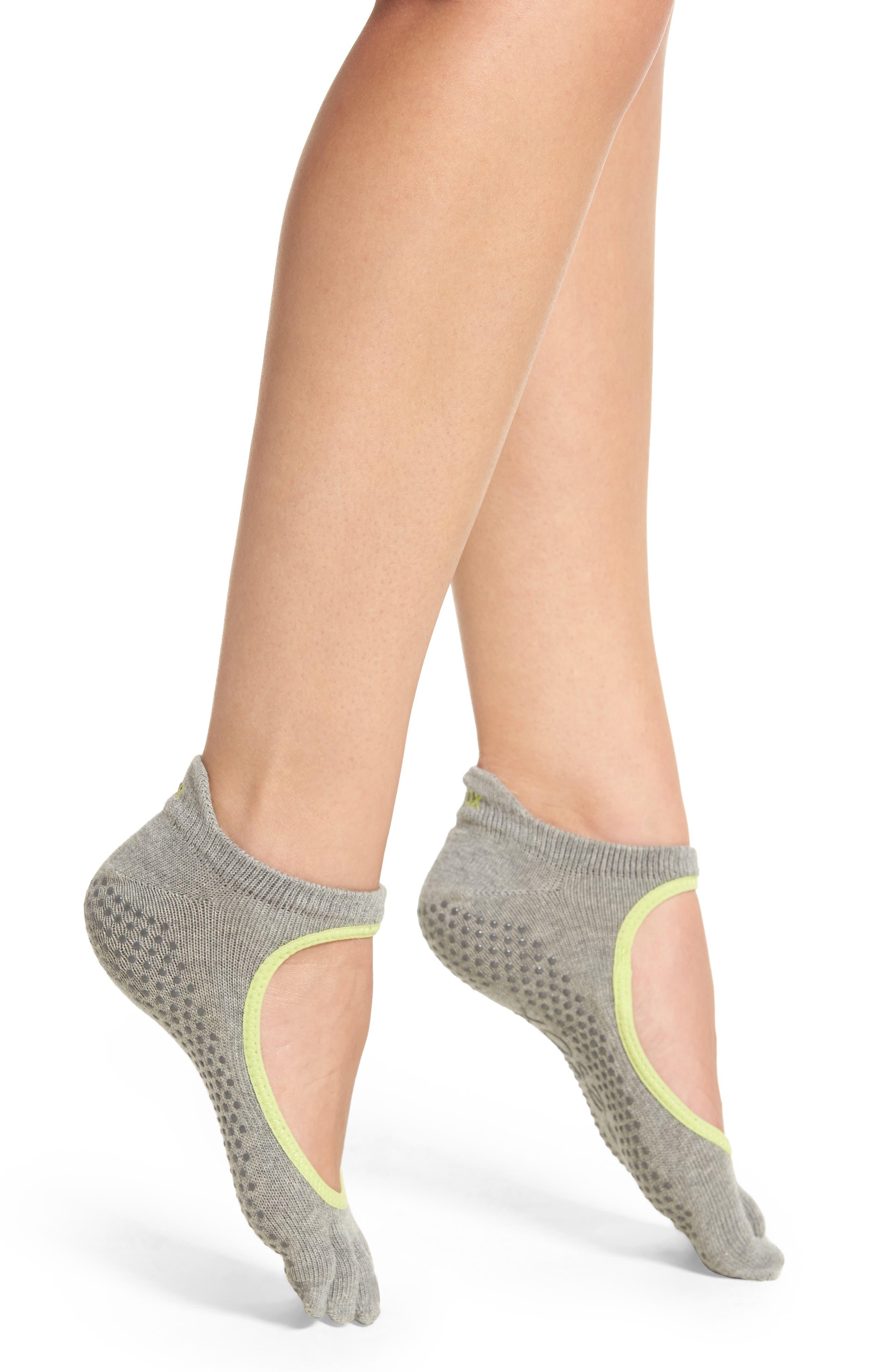 TOESOX Bellarina Full Toe Gripper Socks in Heather Grey/ Lime