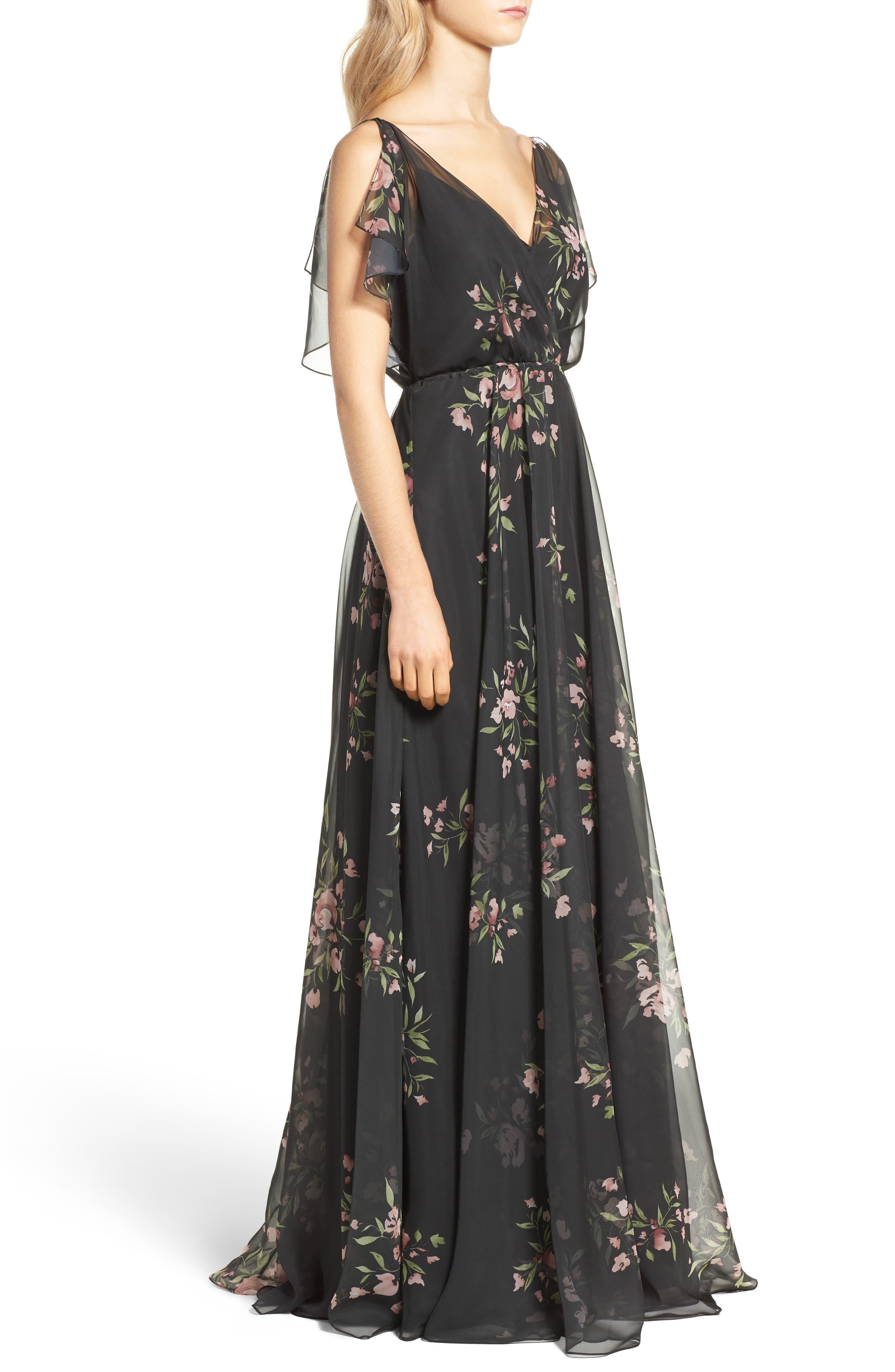 Cassie Flutter Sleeve Surplice Gown,                             Alternate thumbnail 3, color,                             001