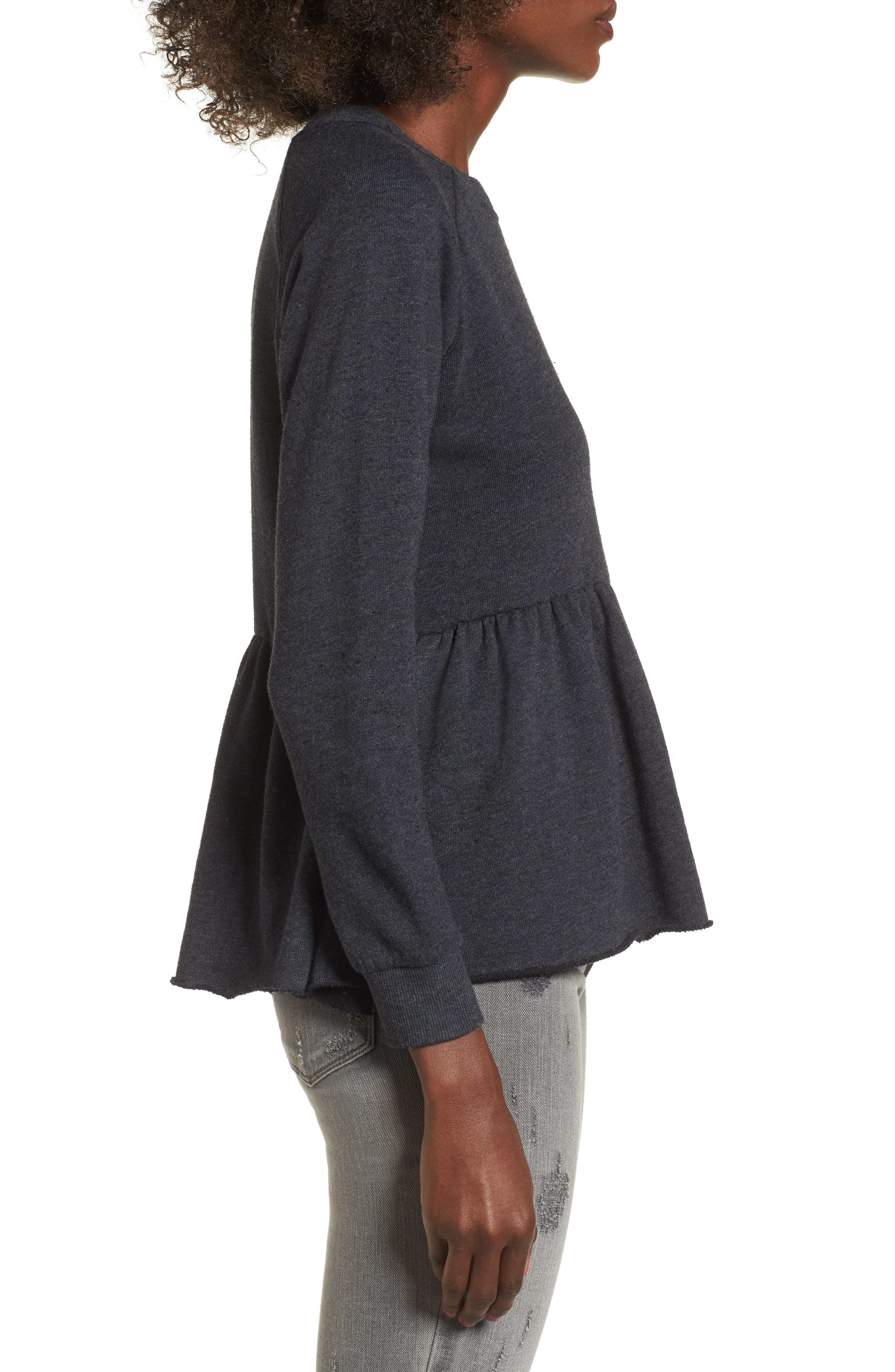 Viera Fleece Peplum Sweatshirt,                             Alternate thumbnail 3, color,                             020