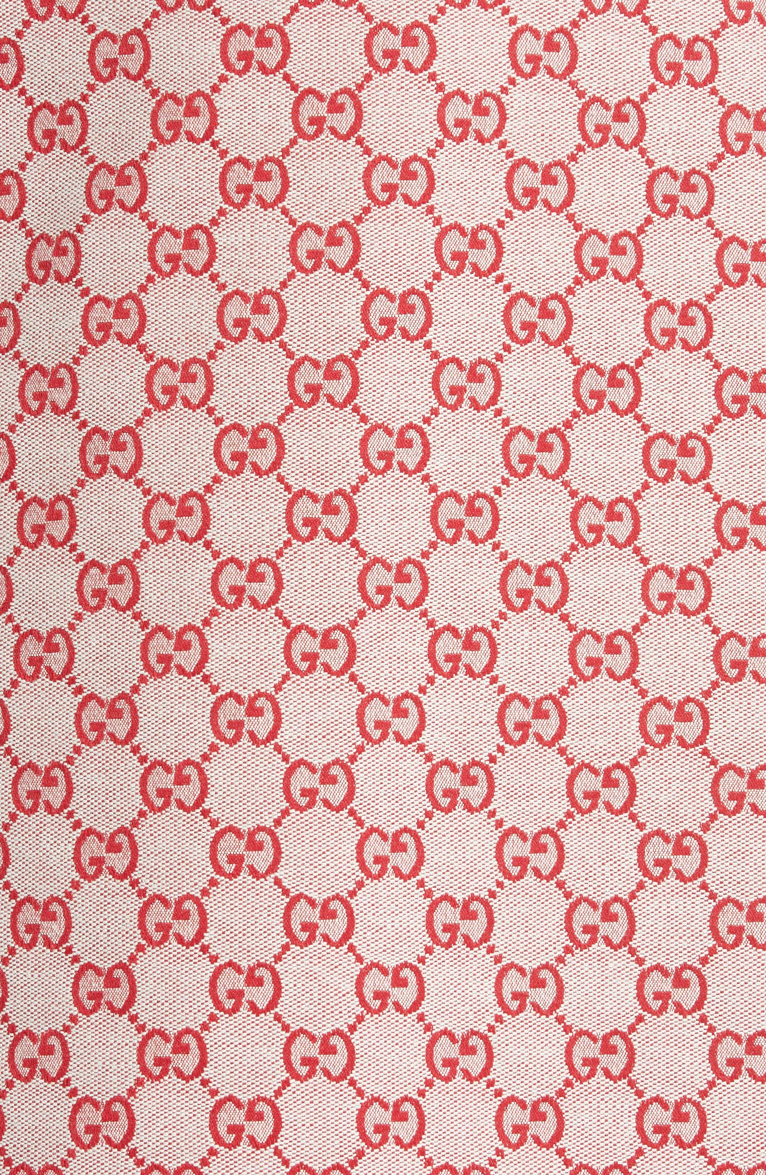 GG Print Canvas A-Line Skirt,                             Alternate thumbnail 5, color,                             GARDENIA/ HIBISCUS RED