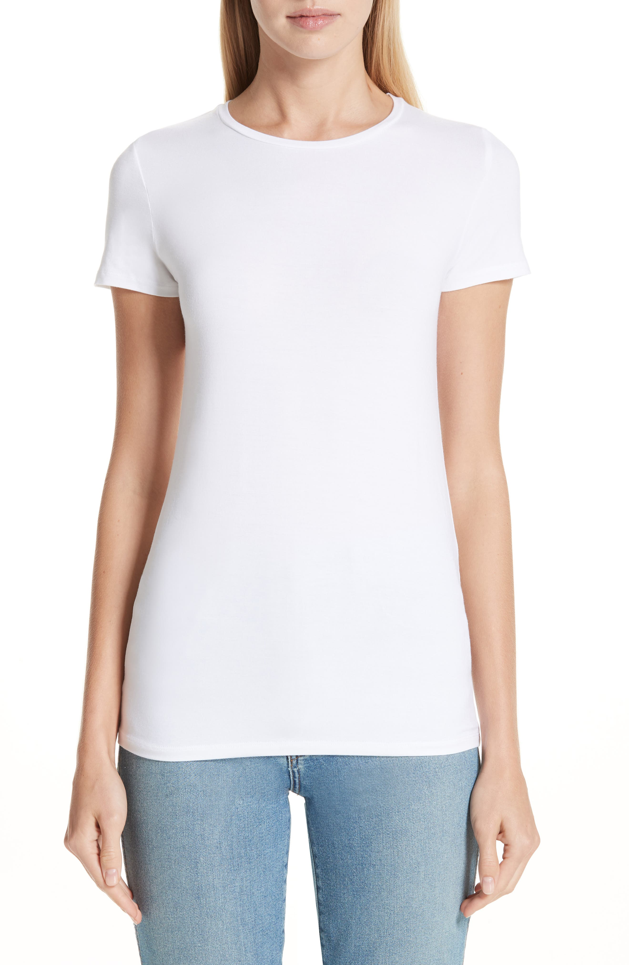 MAJESTIC Soft Touch Short-Sleeve Crewneck T-Shirt in Blanca