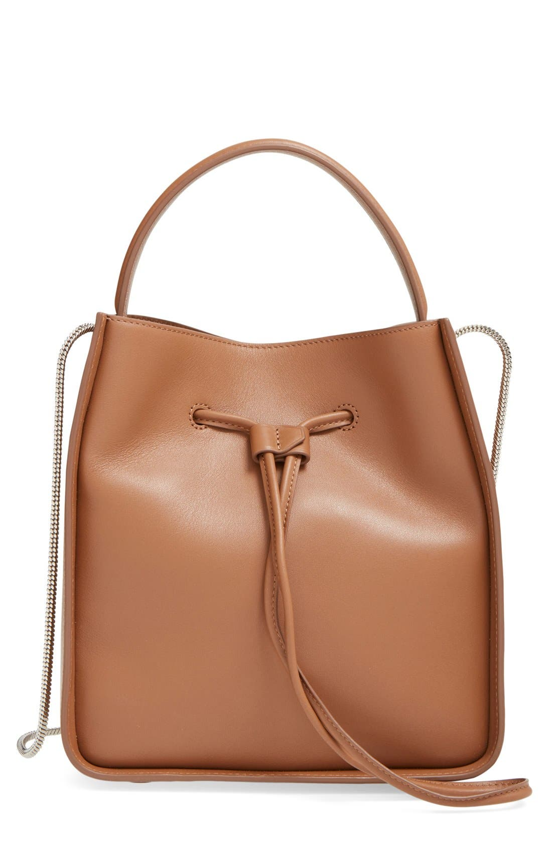 Small Soleil Leather Bucket Bag,                             Main thumbnail 3, color,