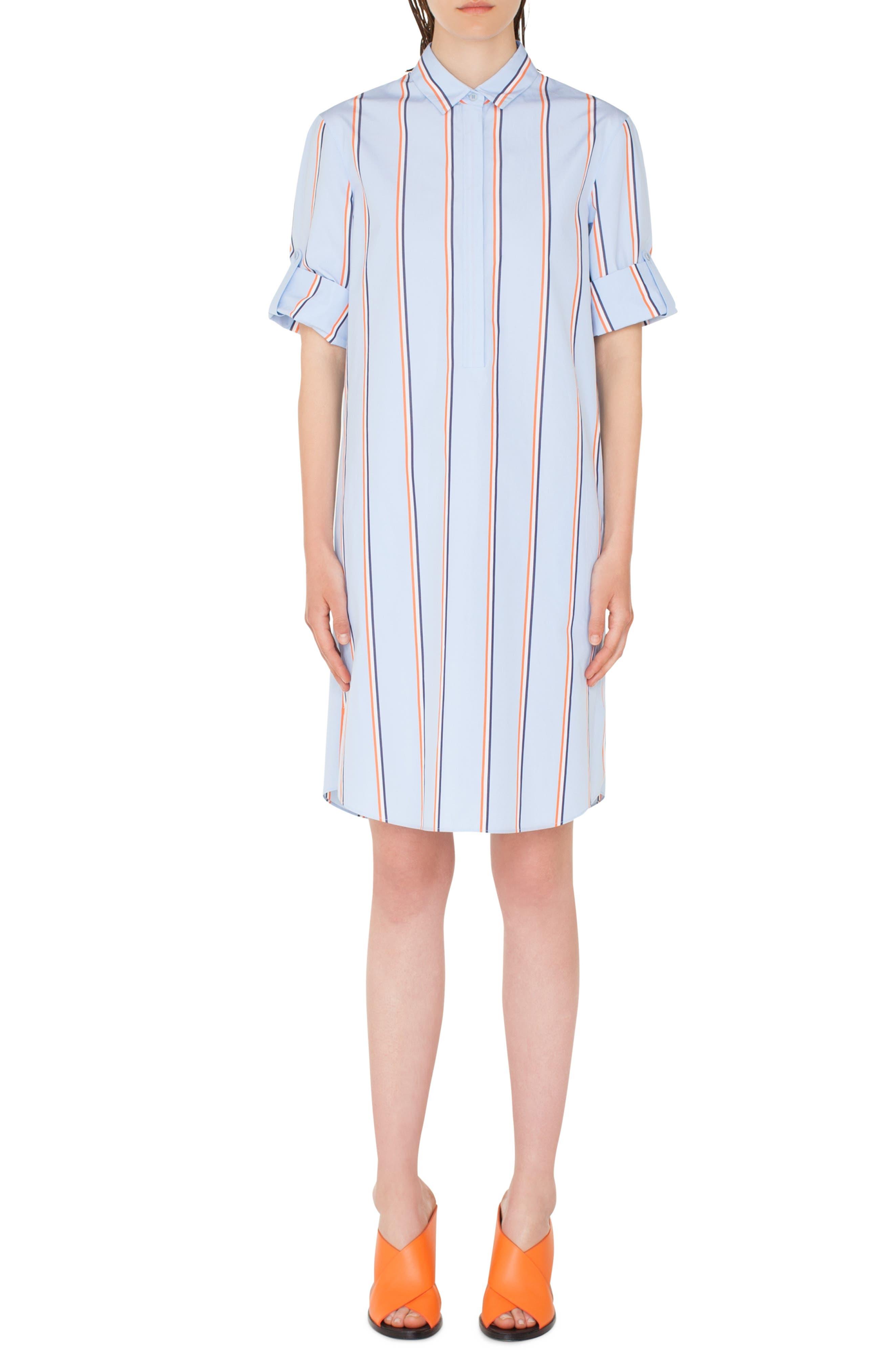 Stripe Cotton Shirtdress, Main, color, CIELO-MULTICOLOR