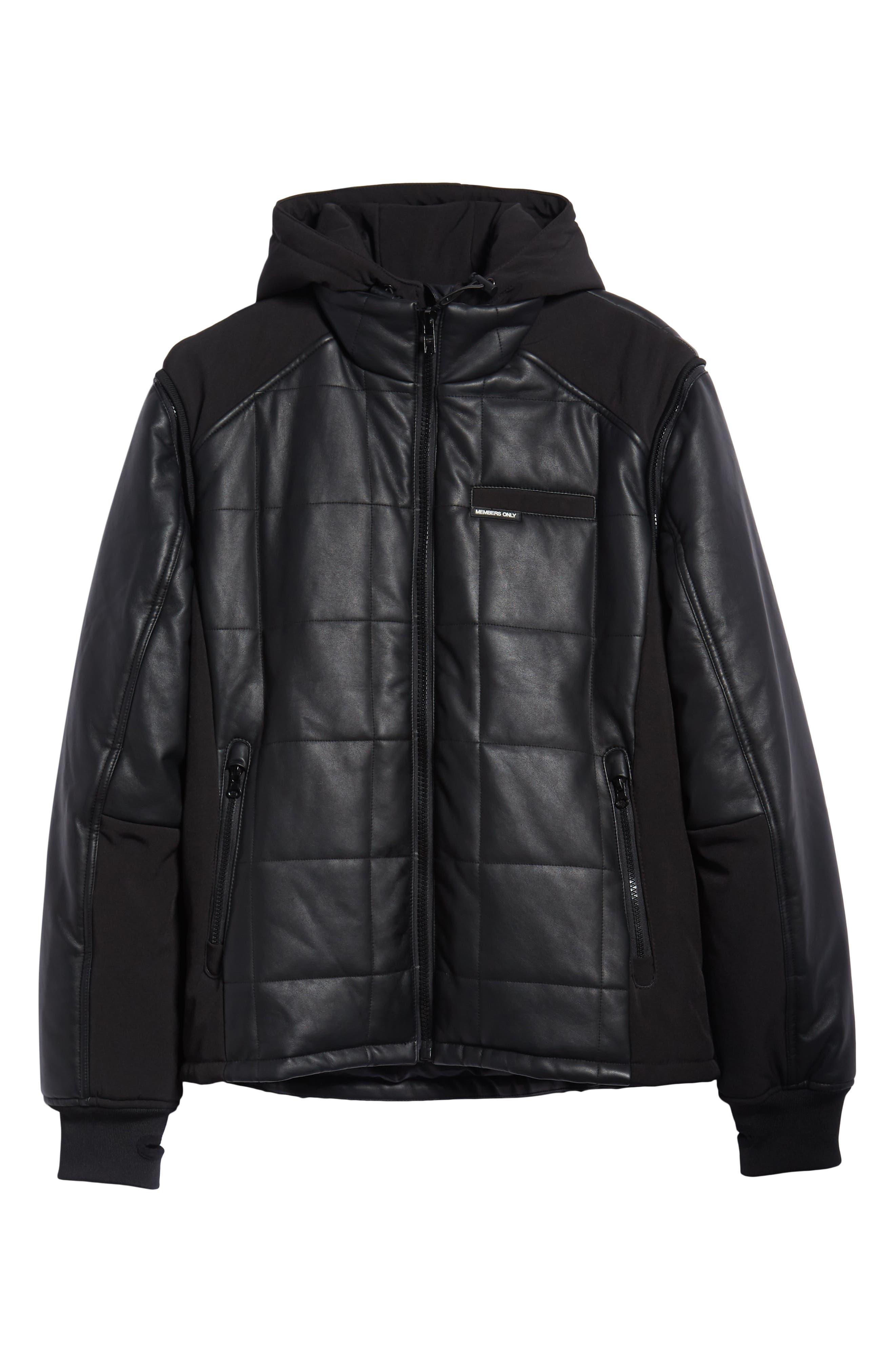 Quilted Convertible Vest/Jacket,                             Alternate thumbnail 5, color,                             BLACK