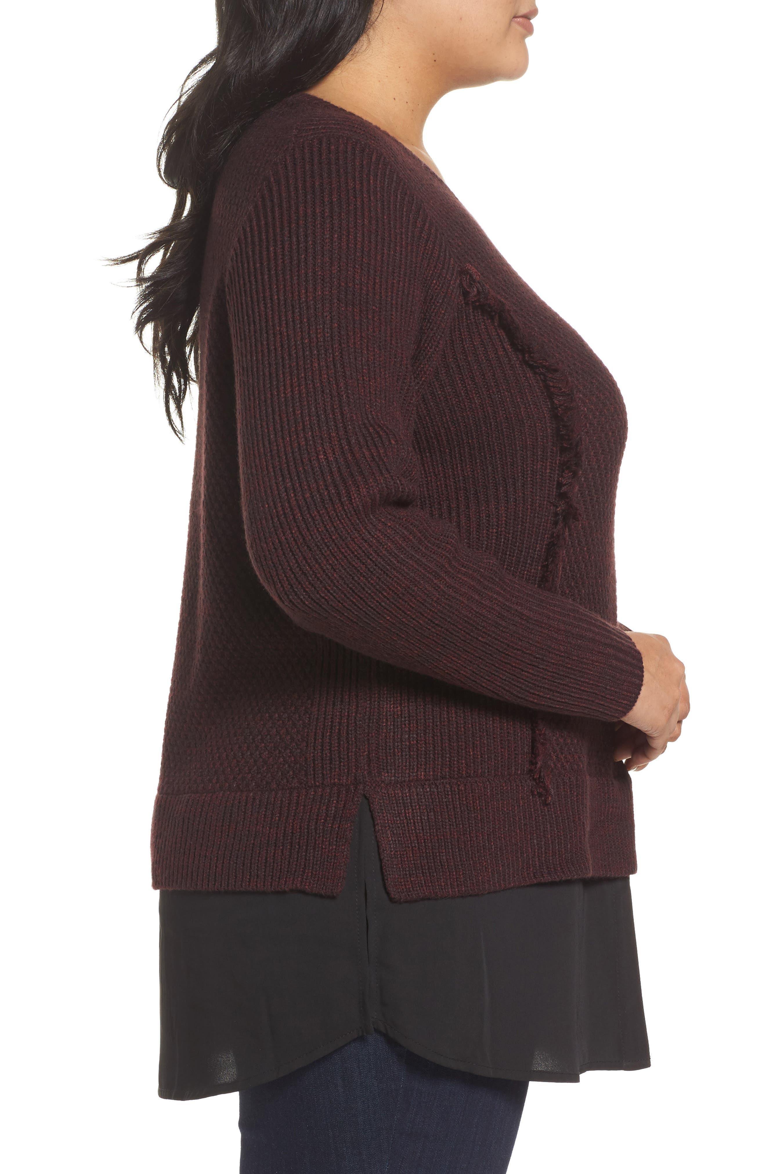 Sophia Layered Look Sweater,                             Alternate thumbnail 3, color,                             606