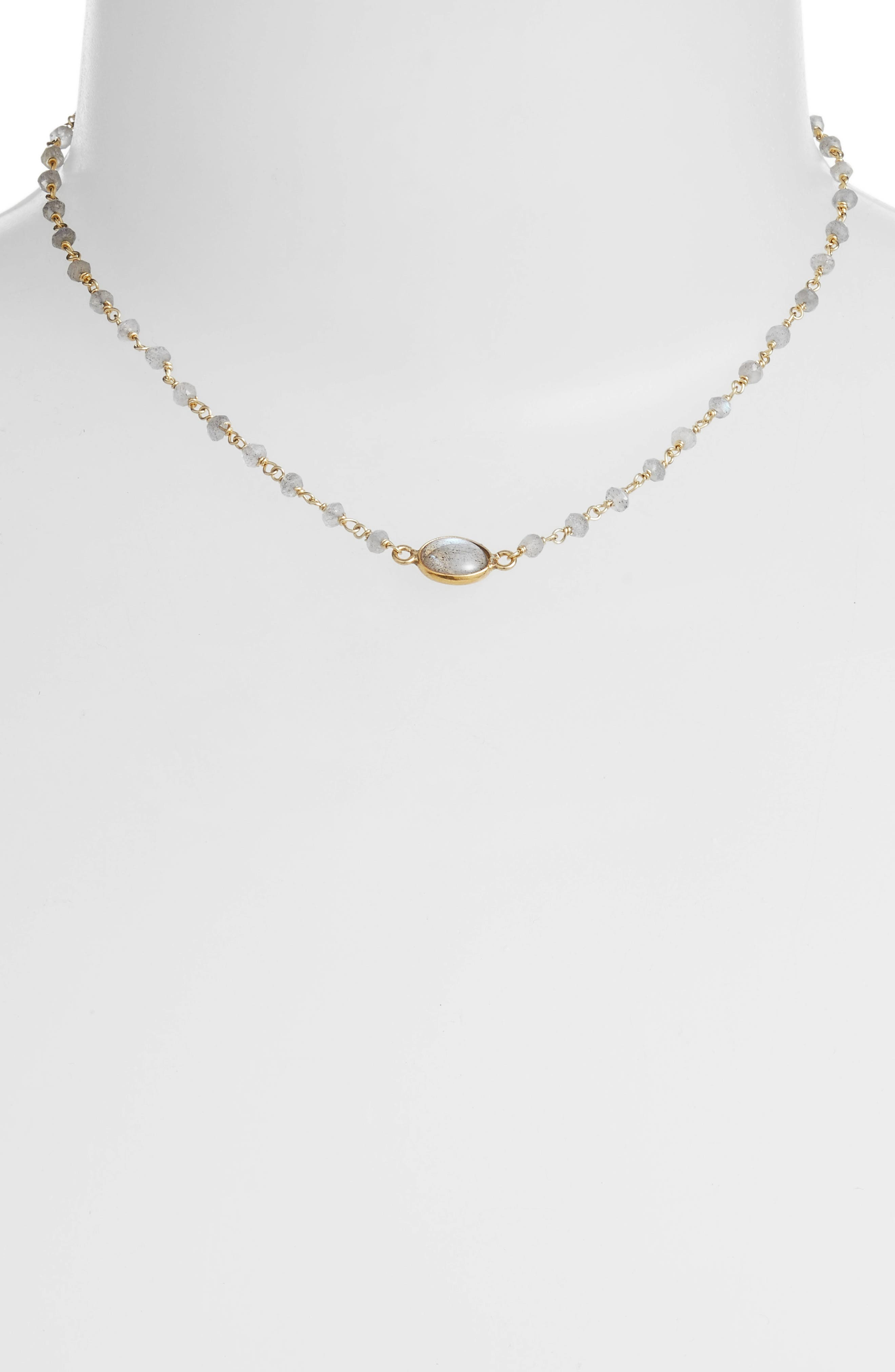 Libi Semiprecious Stone Collar Necklace,                             Alternate thumbnail 2, color,                             LABRADORITE