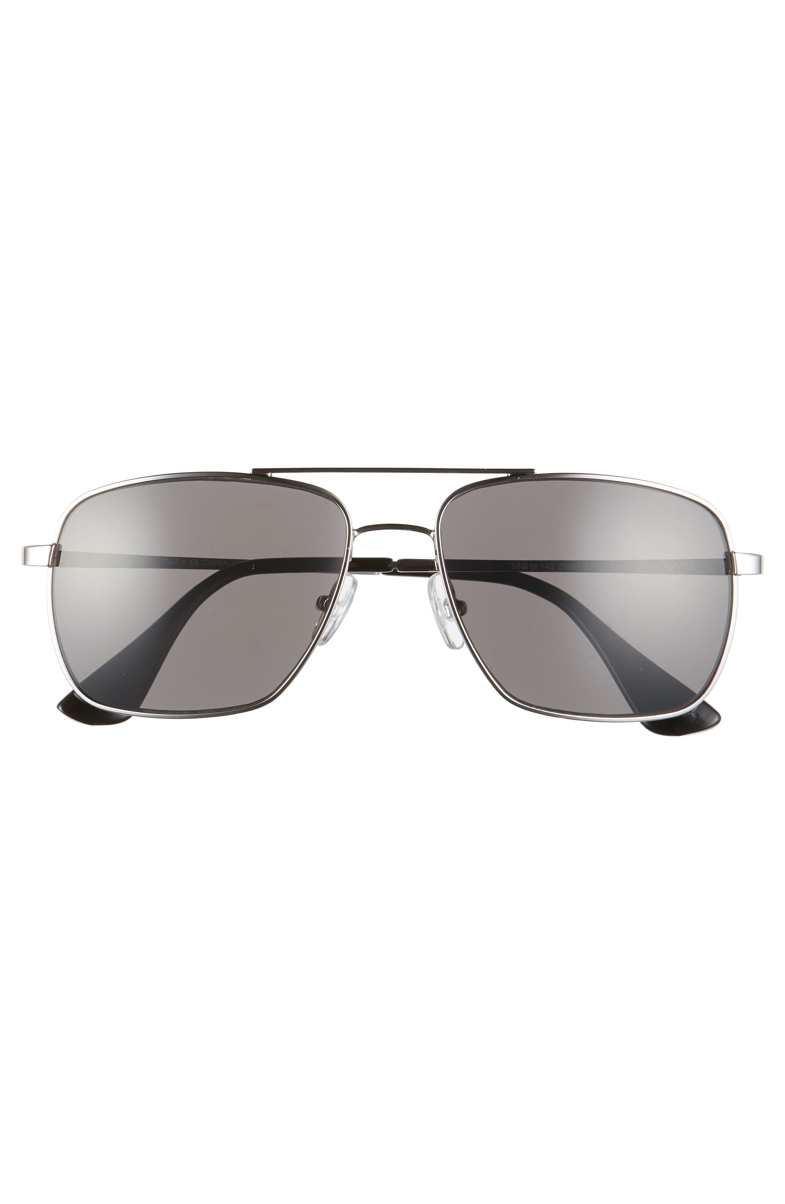 Taylor 58mm Aviator Sunglasses,                             Alternate thumbnail 2, color,                             GUNMETAL/ GREY