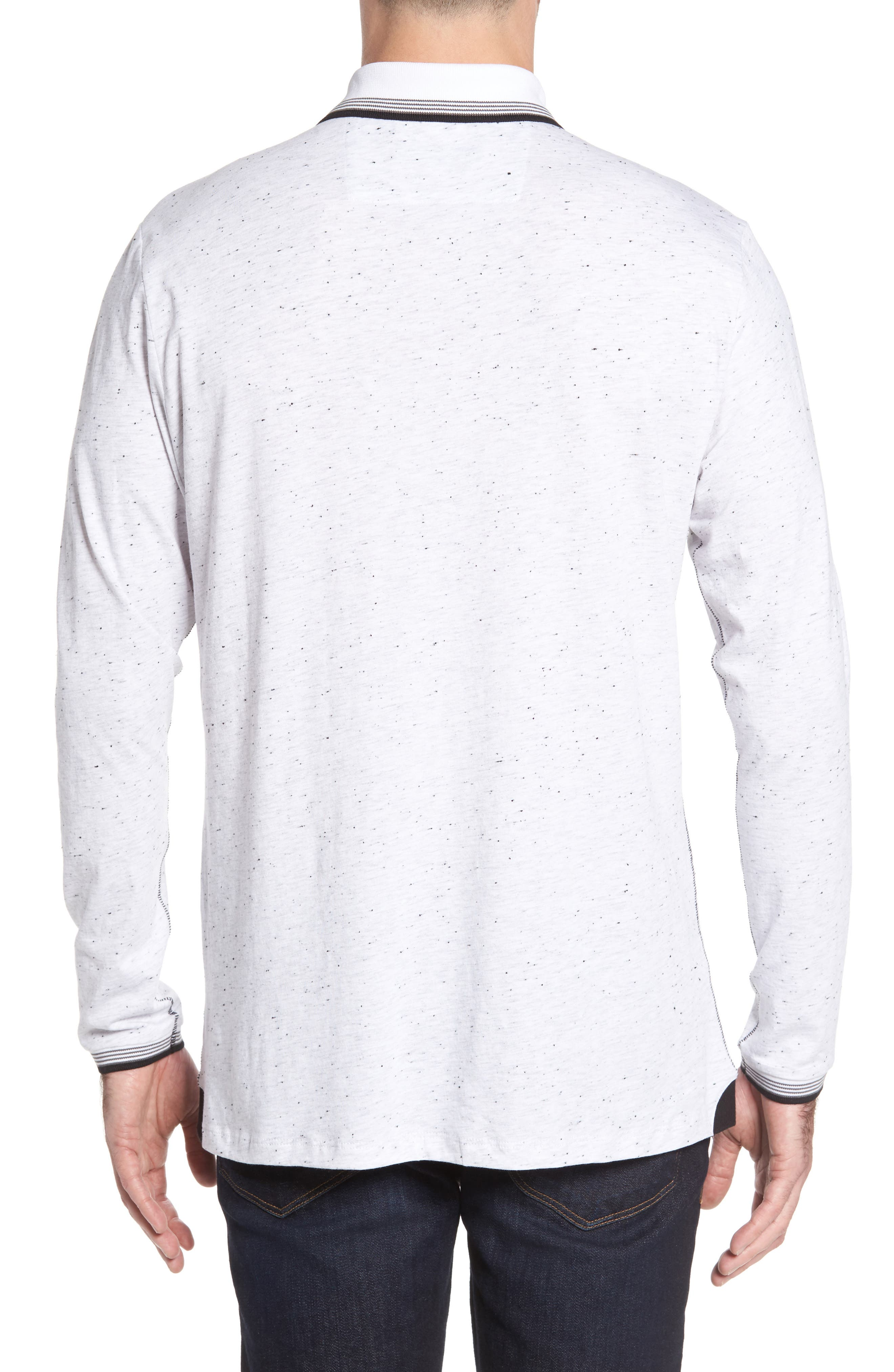 Speckle Knit Long Sleeve Polo,                             Alternate thumbnail 4, color,