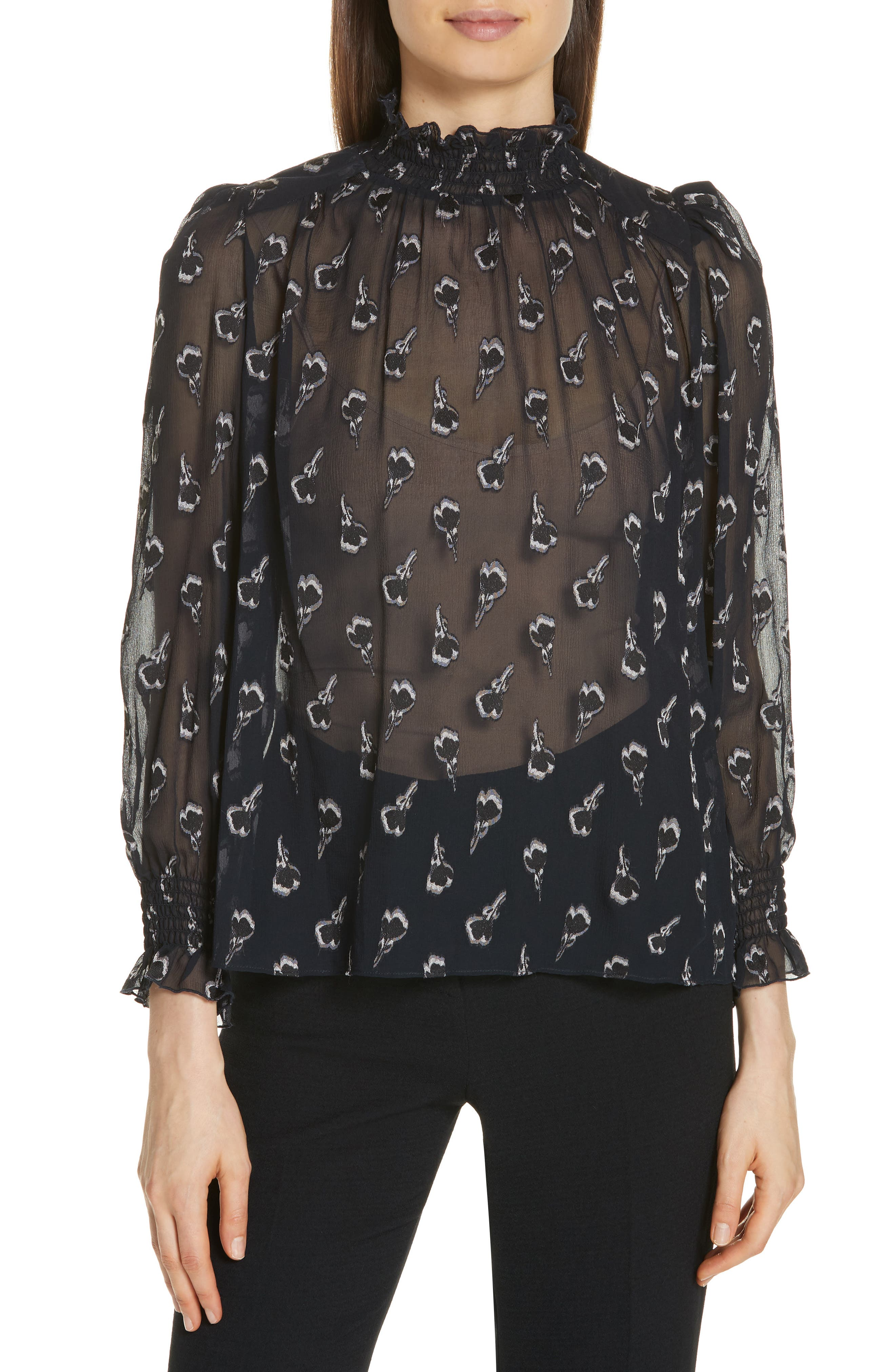 BA&SH Malawi Tumbling Blossoms Silk Georgette Blouse, Main, color, NOIR