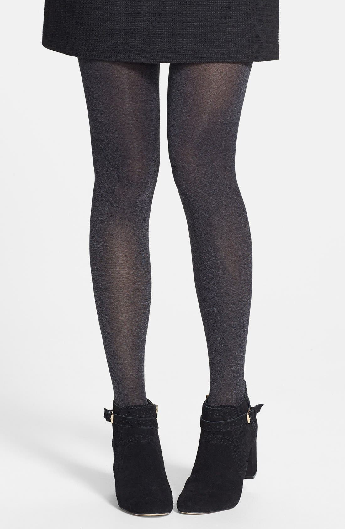Heathered Opaque Tights,                             Main thumbnail 1, color,                             001
