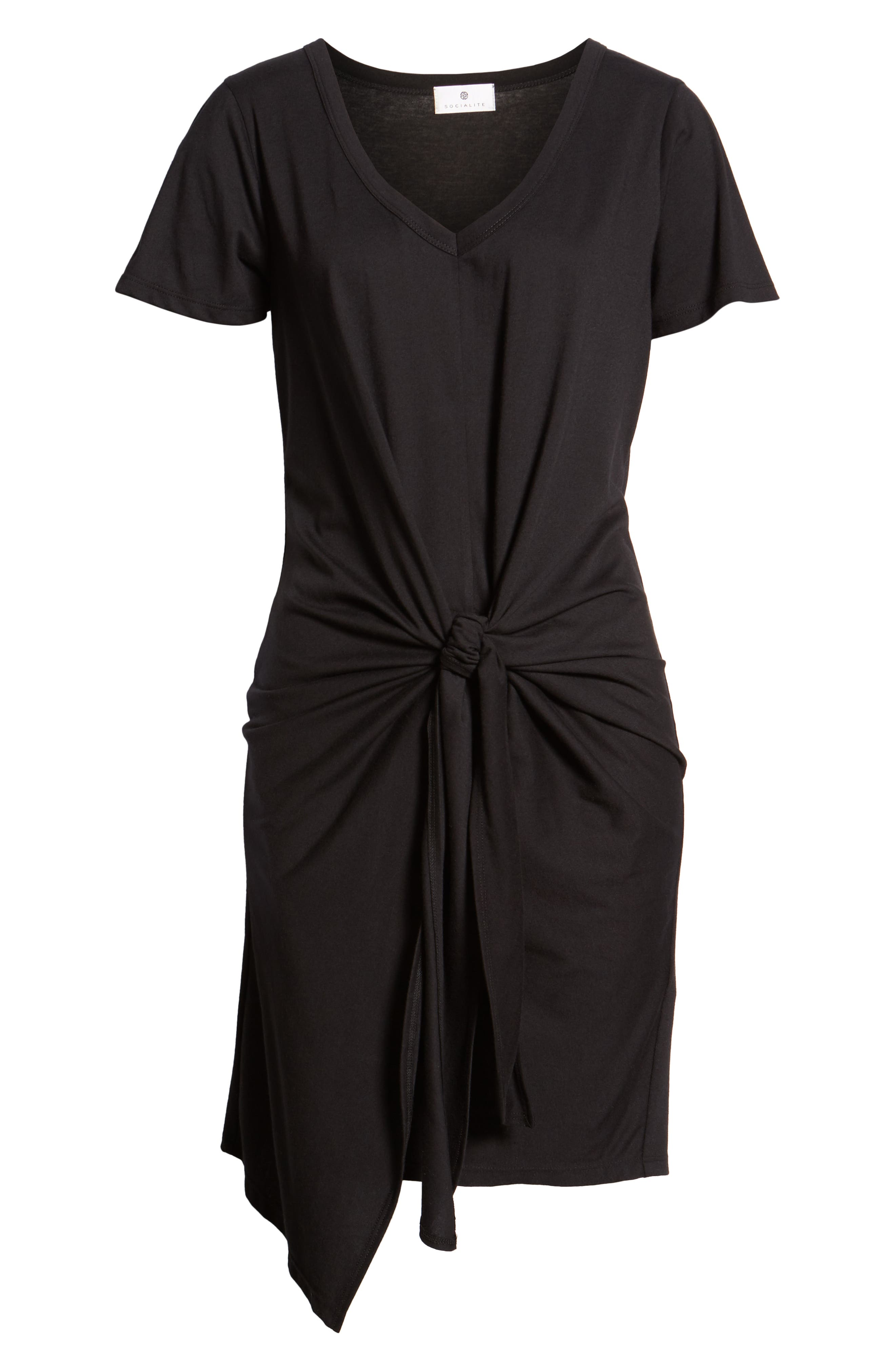 Tie Waist T-Shirt Dress,                             Alternate thumbnail 6, color,                             BLACK