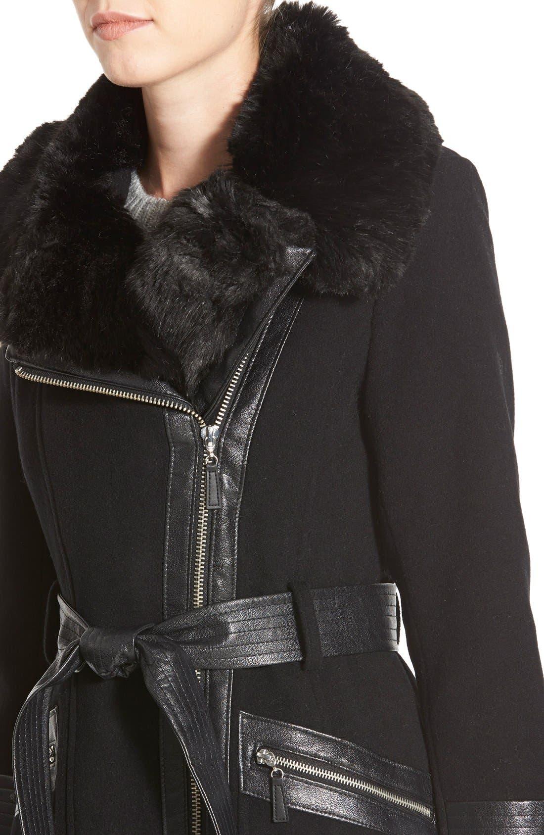 Faux Leather & Faux Fur Trim Belted Wool Blend Coat,                             Alternate thumbnail 29, color,