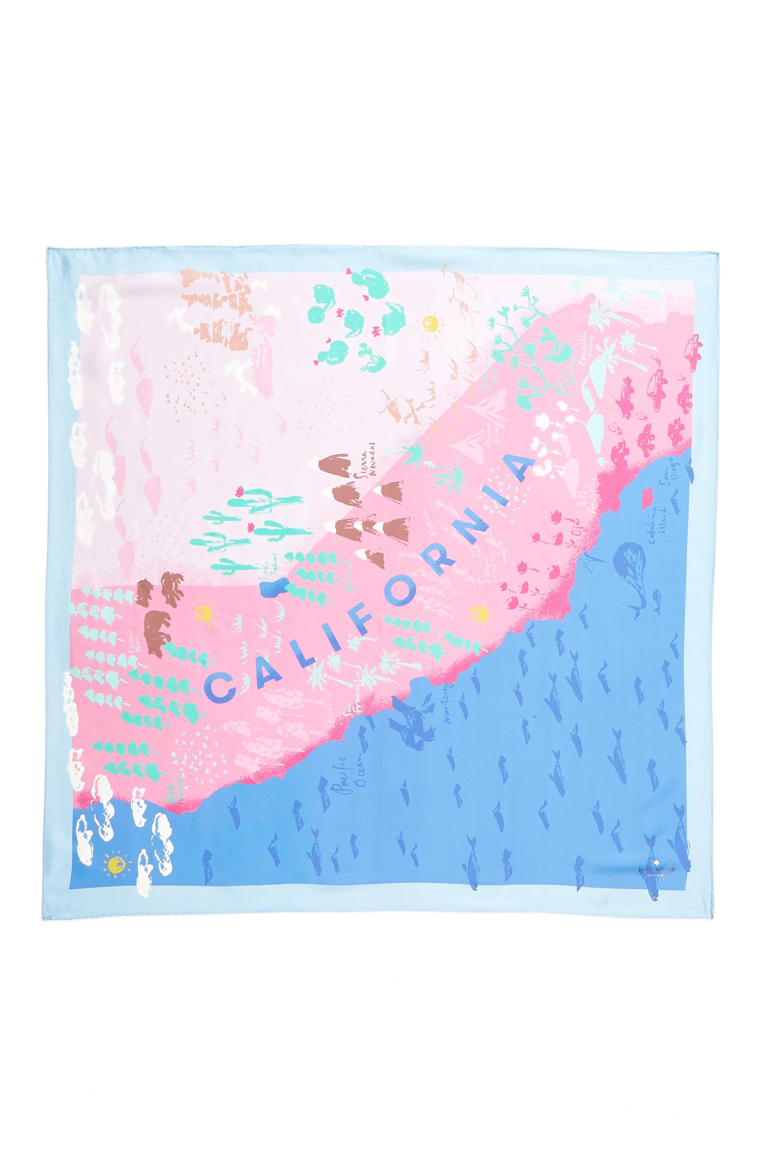 california map square silk scarf,                             Alternate thumbnail 3, color,                             501