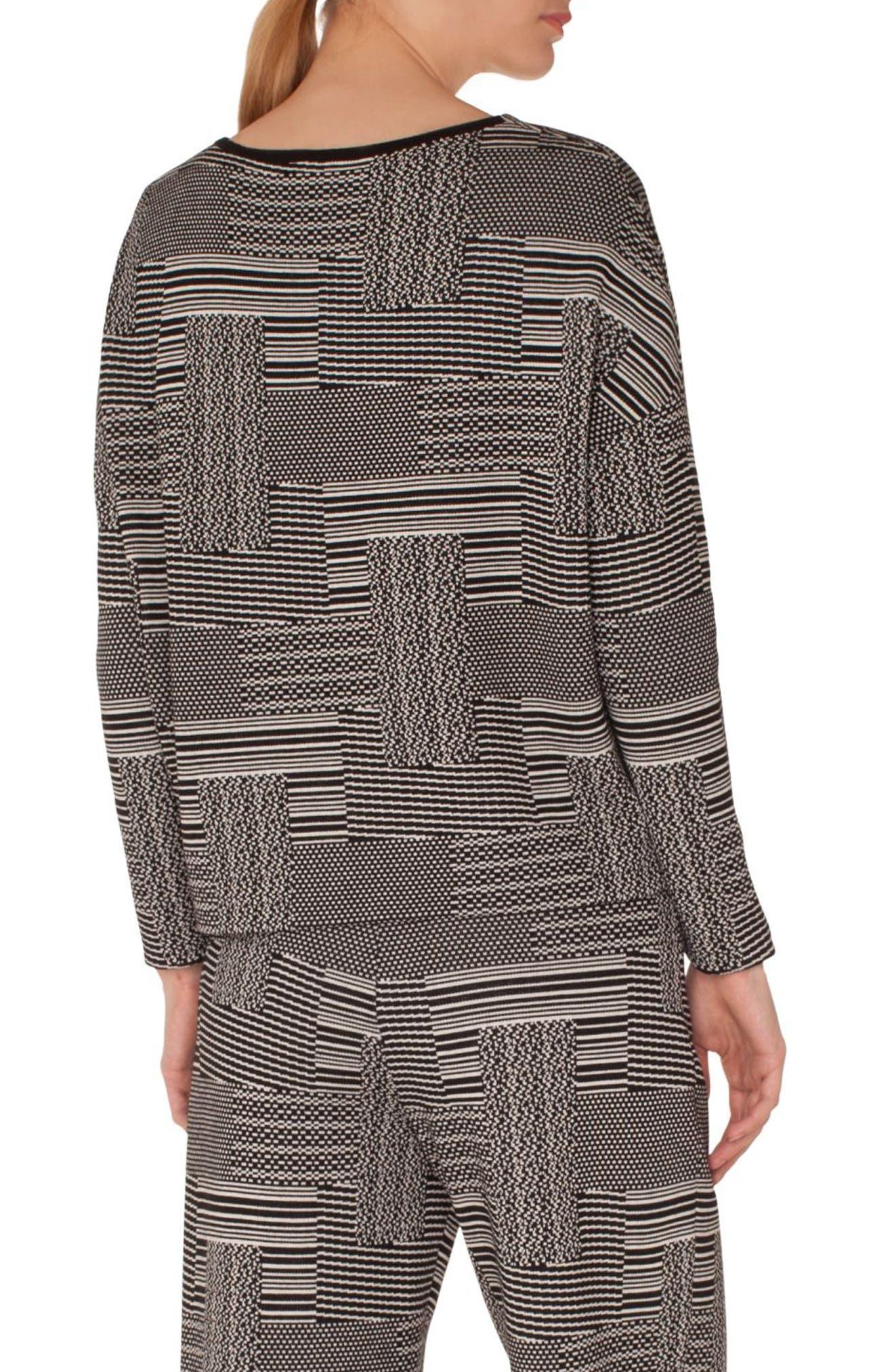 Wool & Cotton Patchwork Jacquard Top,                             Alternate thumbnail 2, color,                             BLACK-CREAM