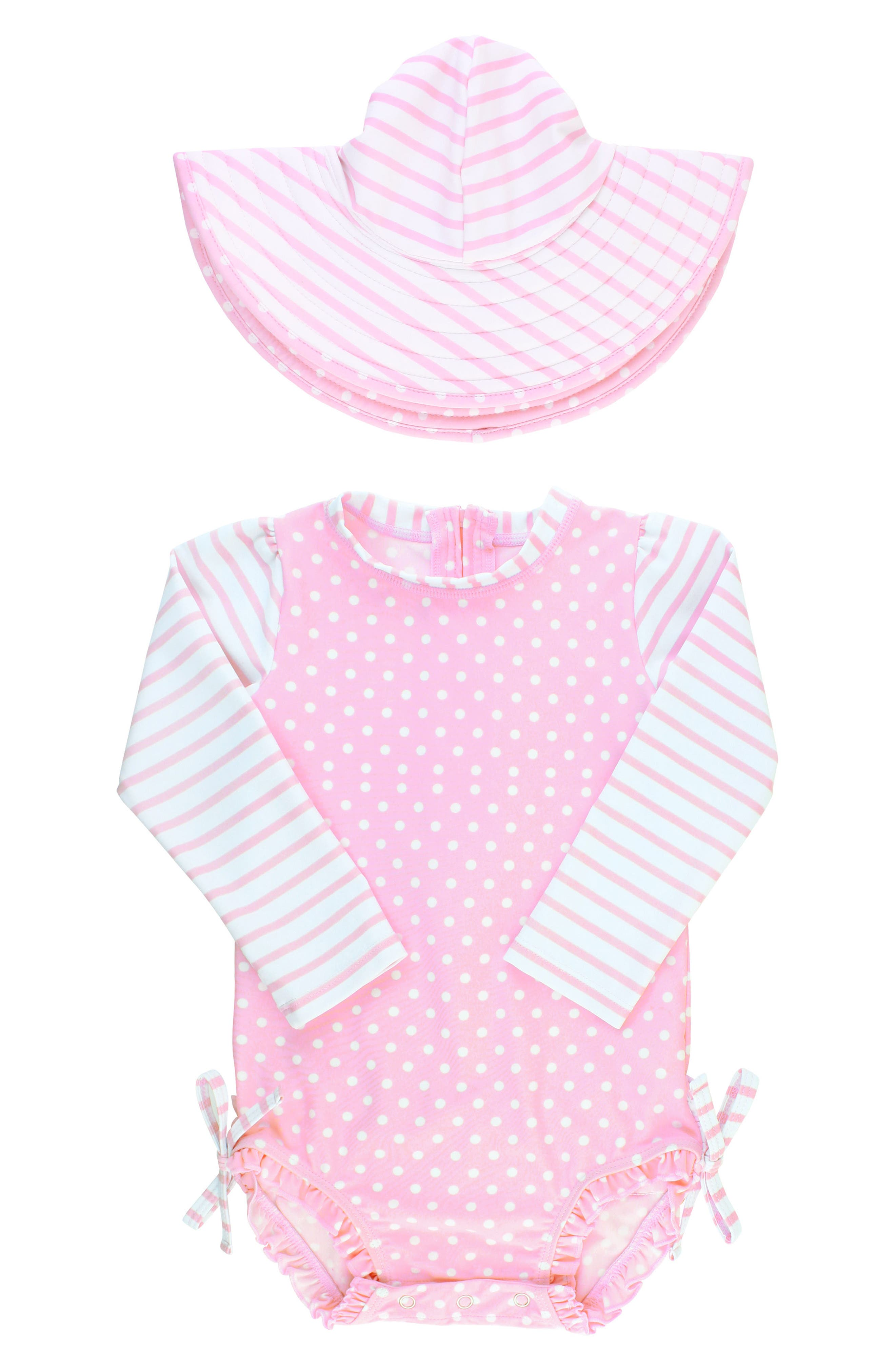 Ruffle Butts Polka Dot One-Piece Rashguard Swimsuit & Sun Hat Set,                             Main thumbnail 1, color,                             PINK
