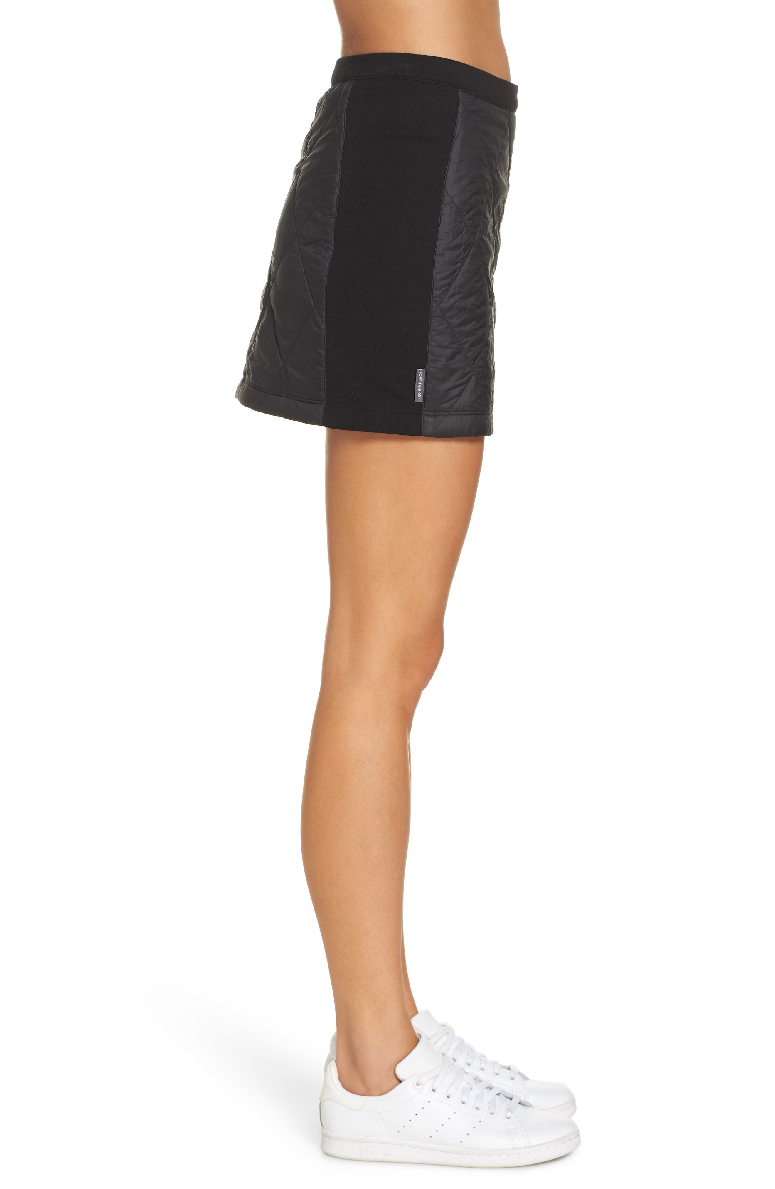 Helix Quilted Wool Blend Skirt,                             Alternate thumbnail 3, color,                             BLACK