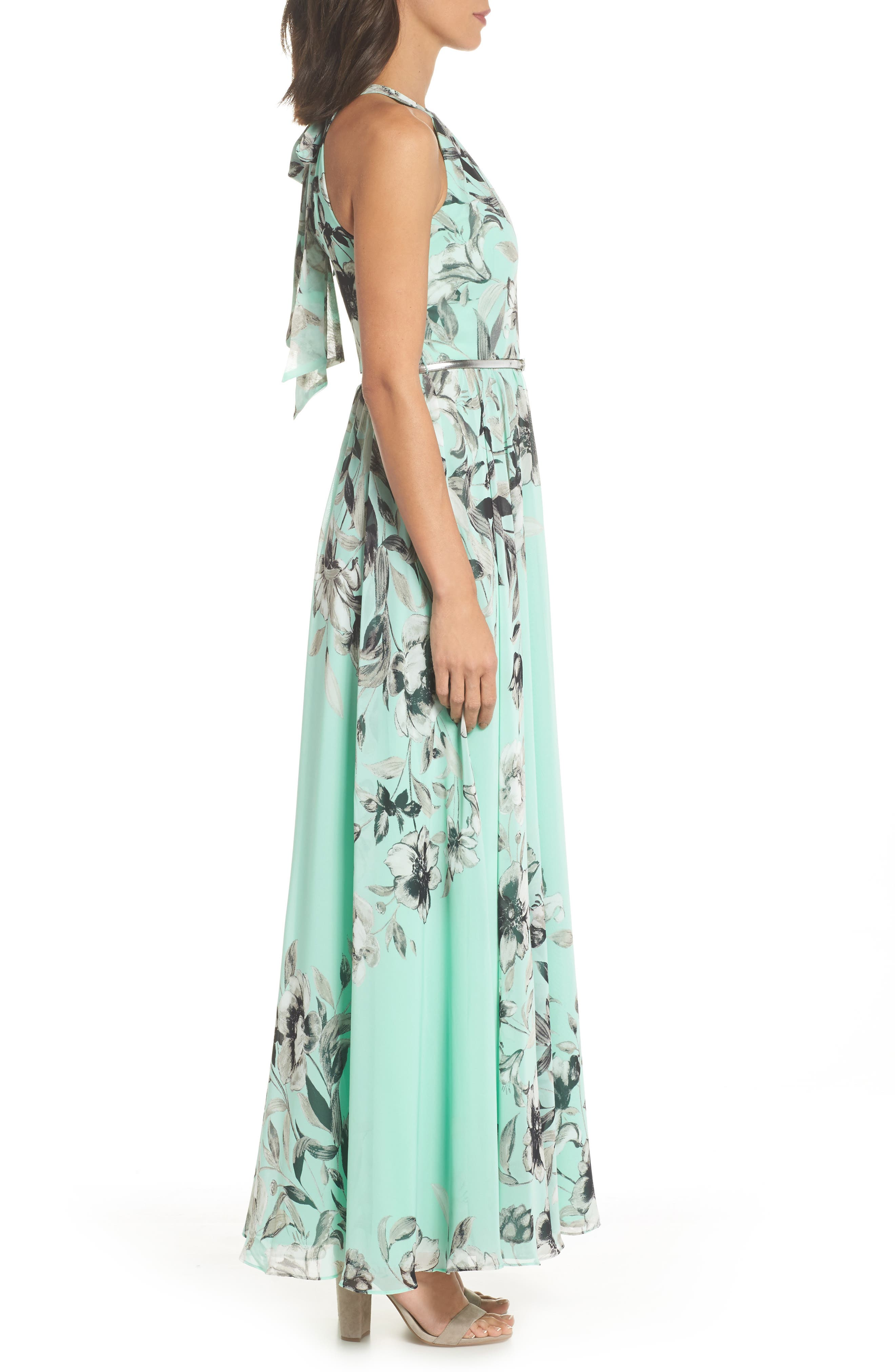 Belted Chiffon Maxi Dress,                             Alternate thumbnail 3, color,                             MINT