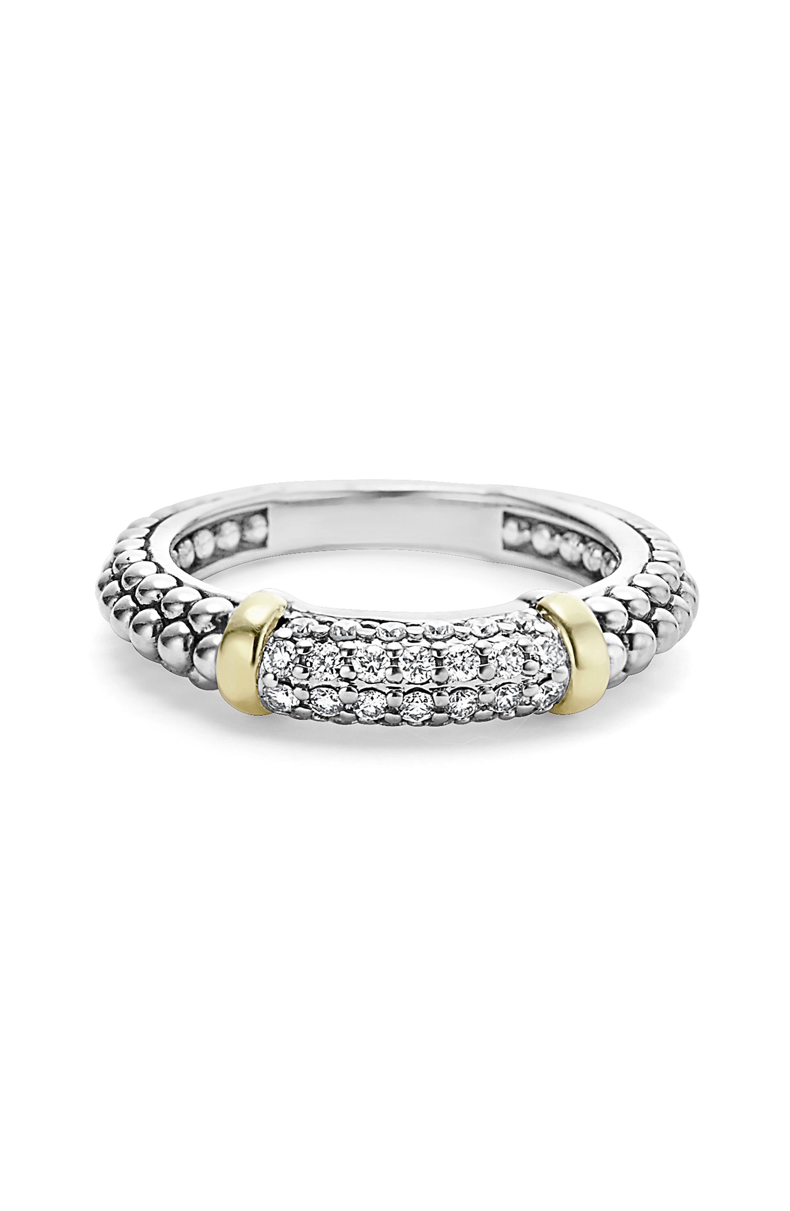 'Caviar' Diamond Band Ring,                             Alternate thumbnail 4, color,                             SILVER