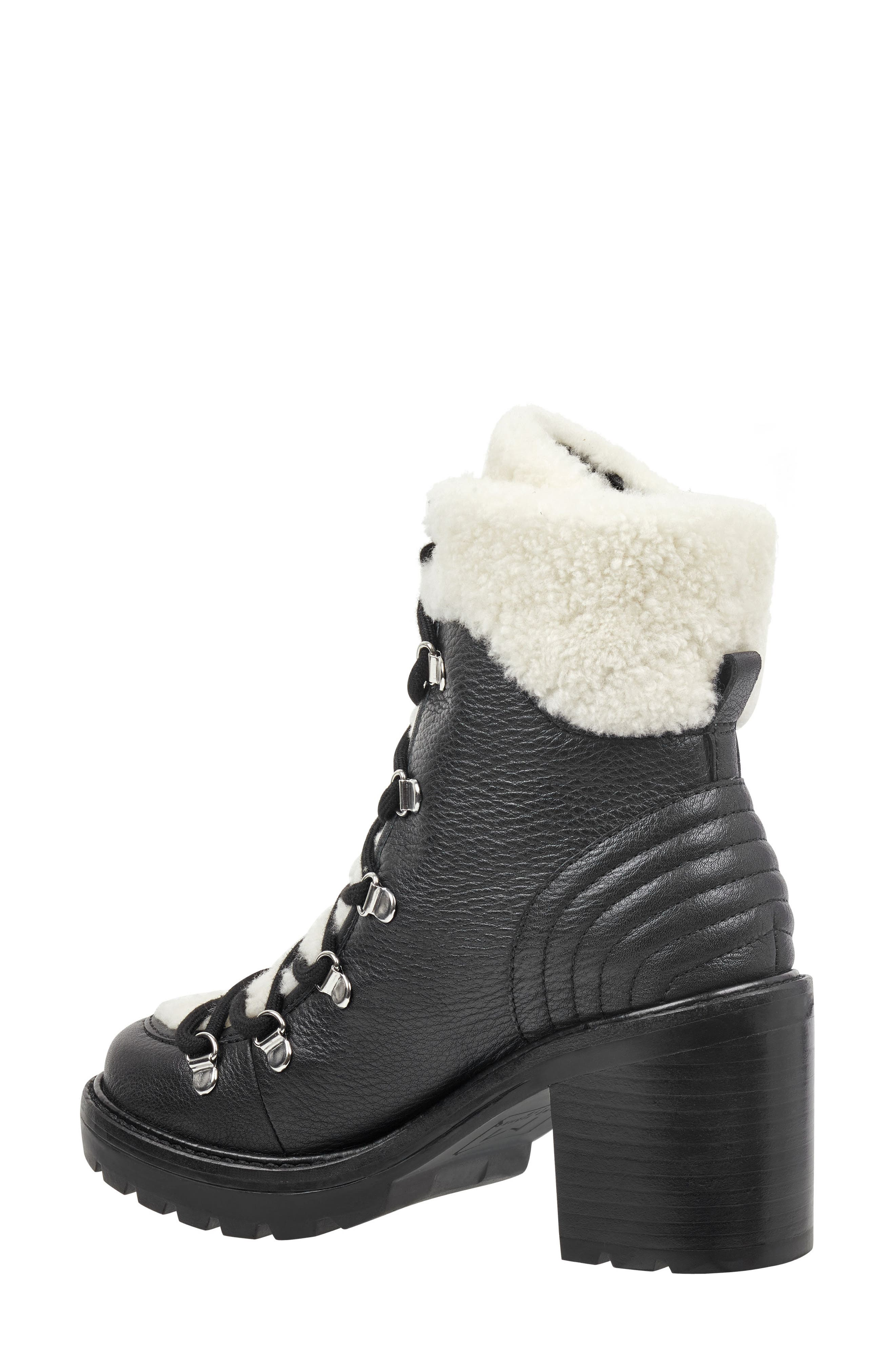 MARC FISHER LTD,                             Daven Genuine Shearling Lace Up Boot,                             Alternate thumbnail 2, color,                             BLACK LEATHER