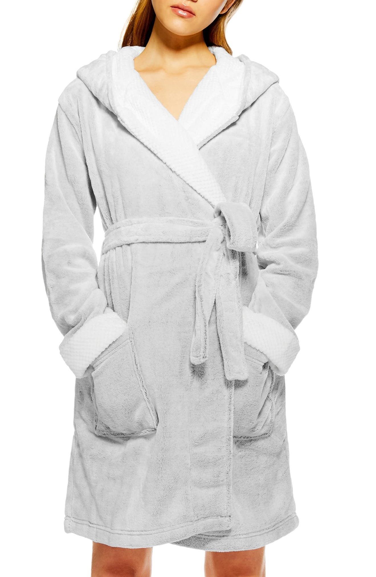Frosted Waffle Hooded Fleece Robe,                             Main thumbnail 1, color,                             040