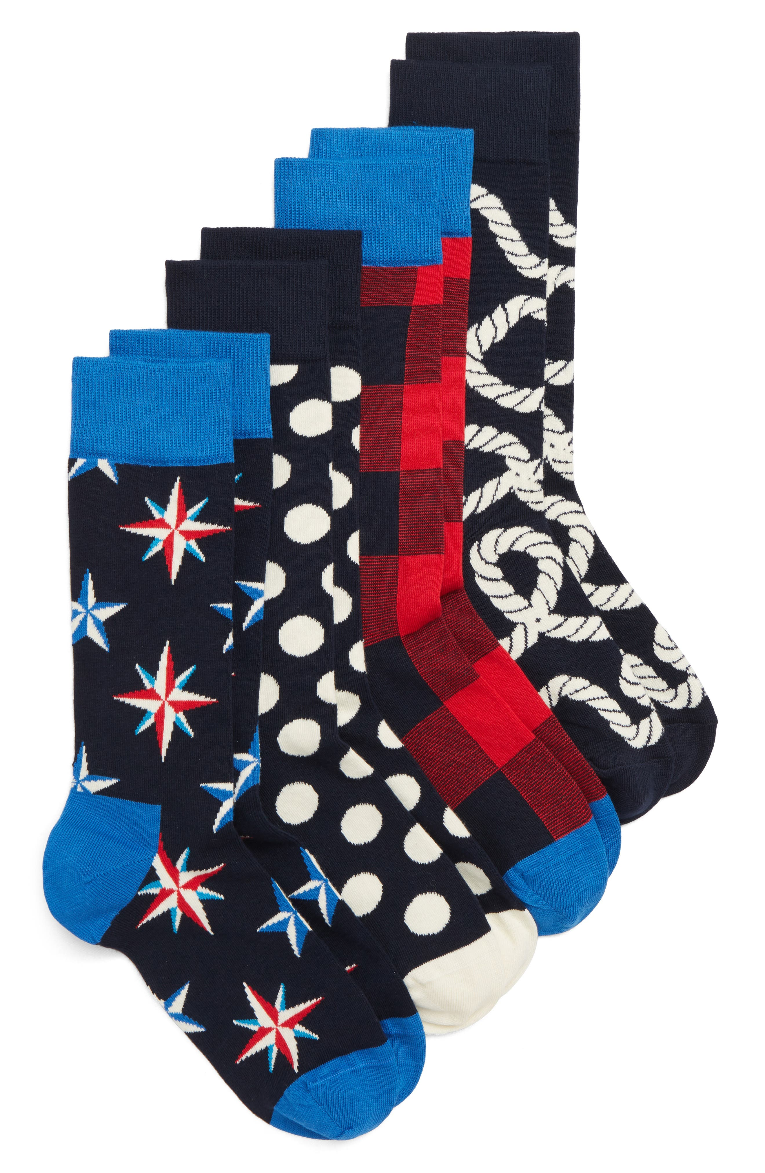 Nautical 4-Pack Box Set Socks,                             Main thumbnail 1, color,                             NAVY/ RED/ WHITE