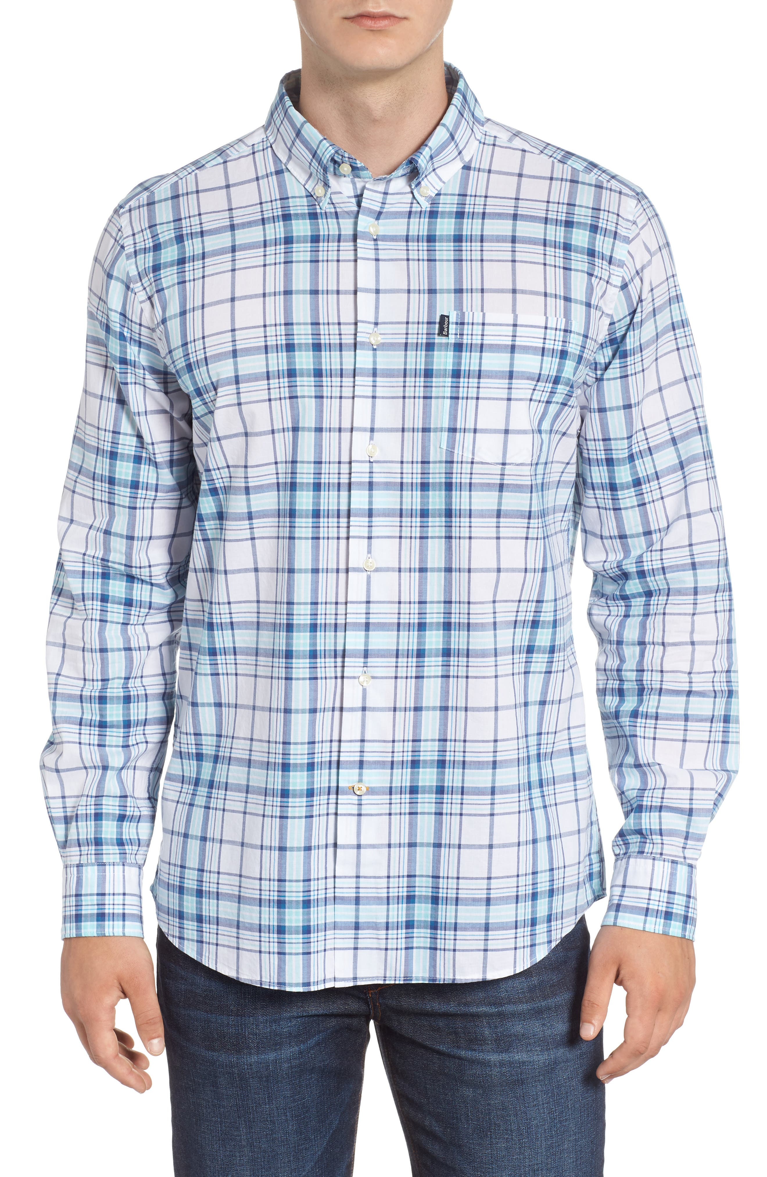 Christopher Tailored Fit Plaid Sport Shirt,                             Main thumbnail 1, color,                             440