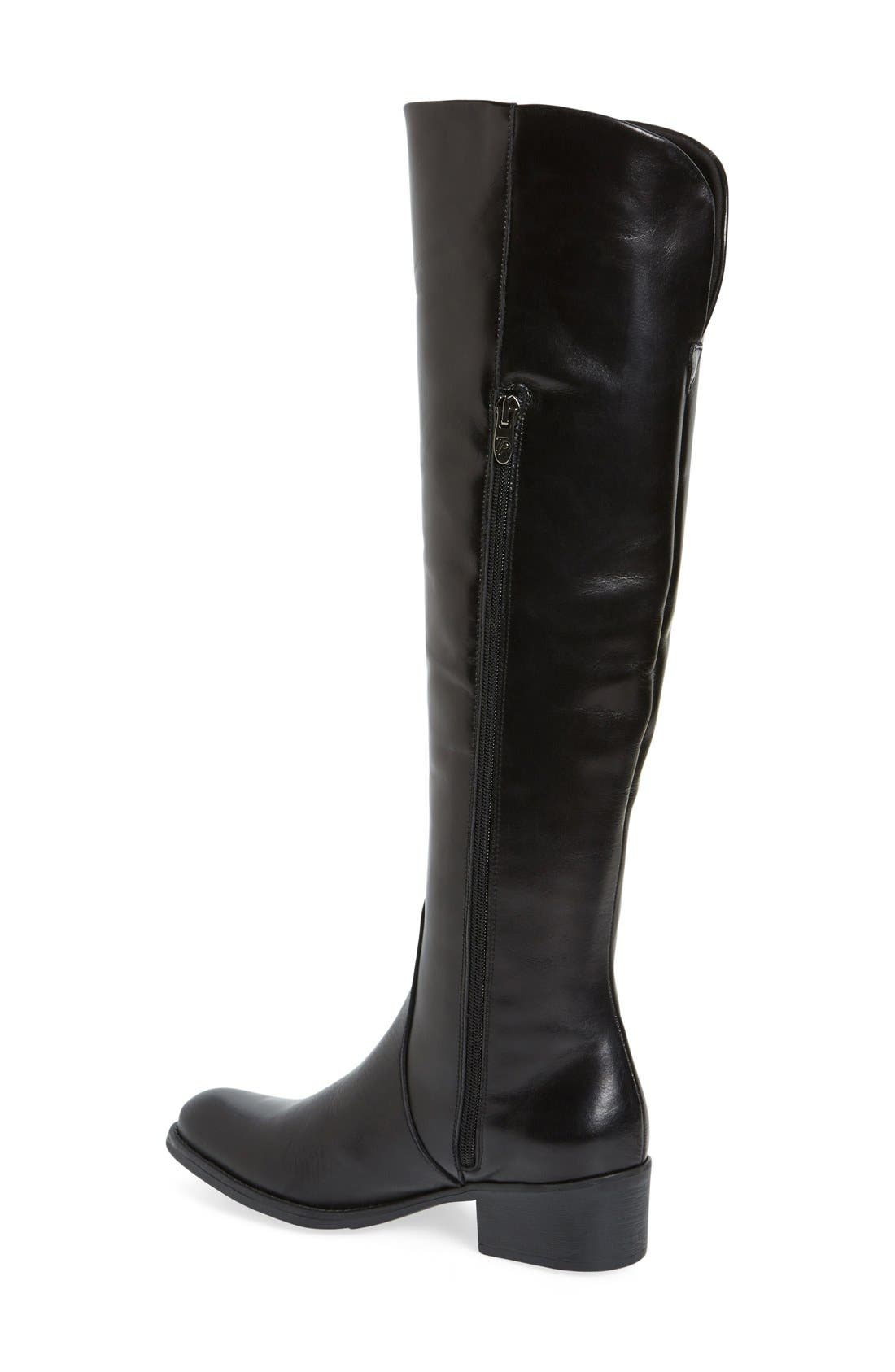 'Tallin' Over-The-Knee Riding Boot,                             Alternate thumbnail 2, color,                             BLACK LEATHER