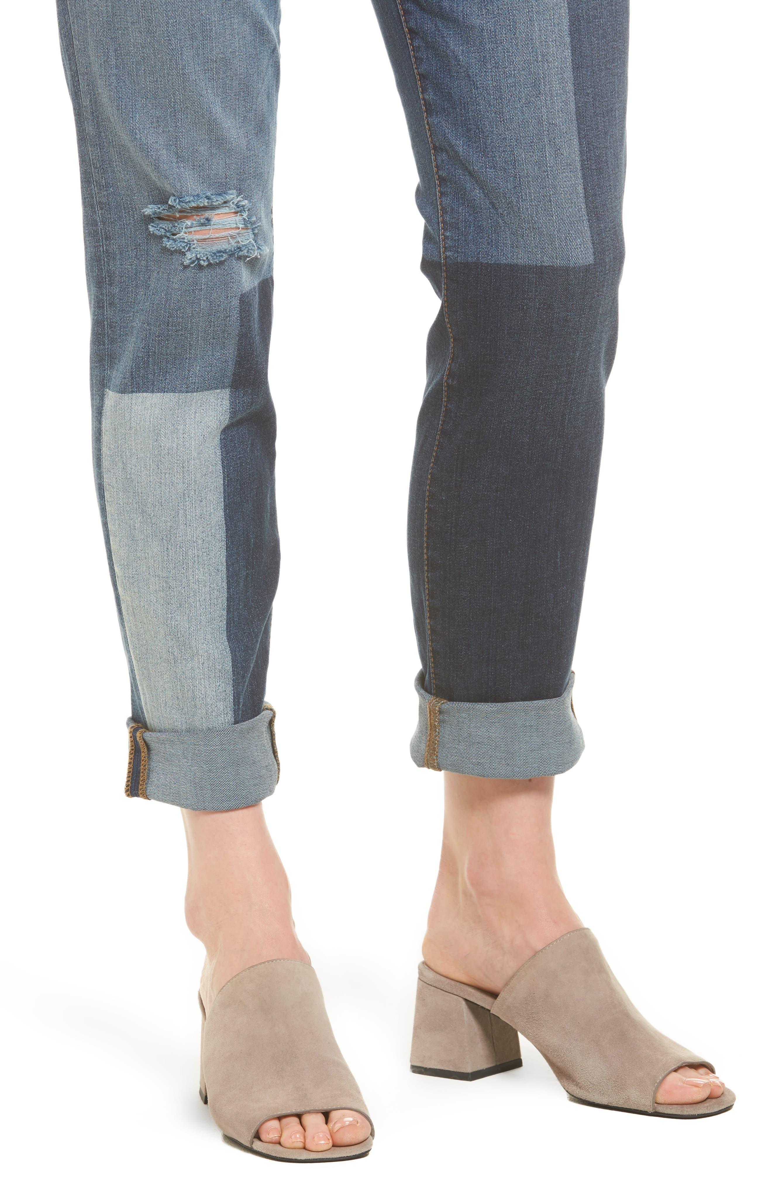 Catherine Colorblock Slim Boyfriend Jeans,                             Alternate thumbnail 4, color,