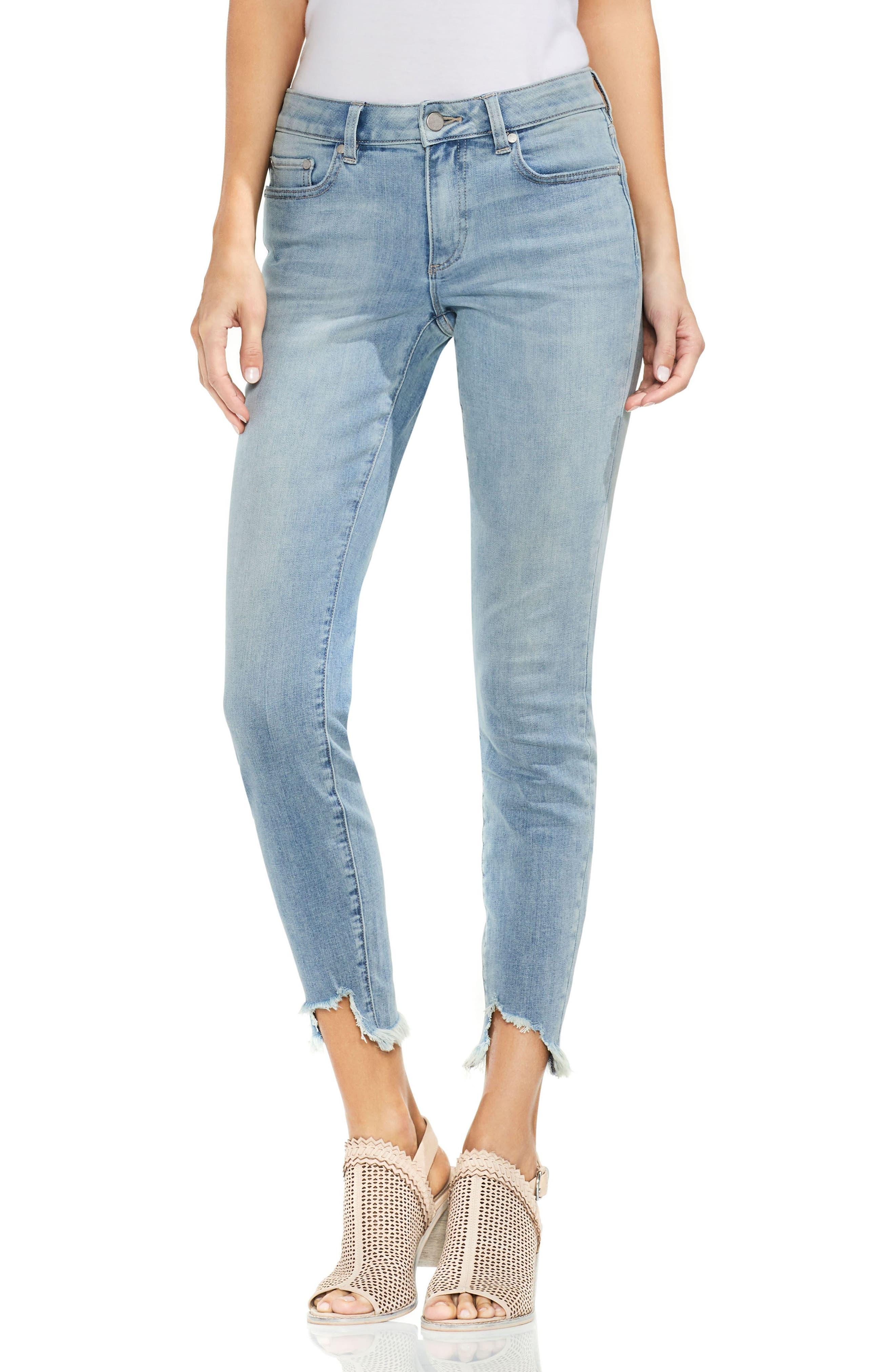 Uneven Hem Skinny Jeans,                             Main thumbnail 2, color,
