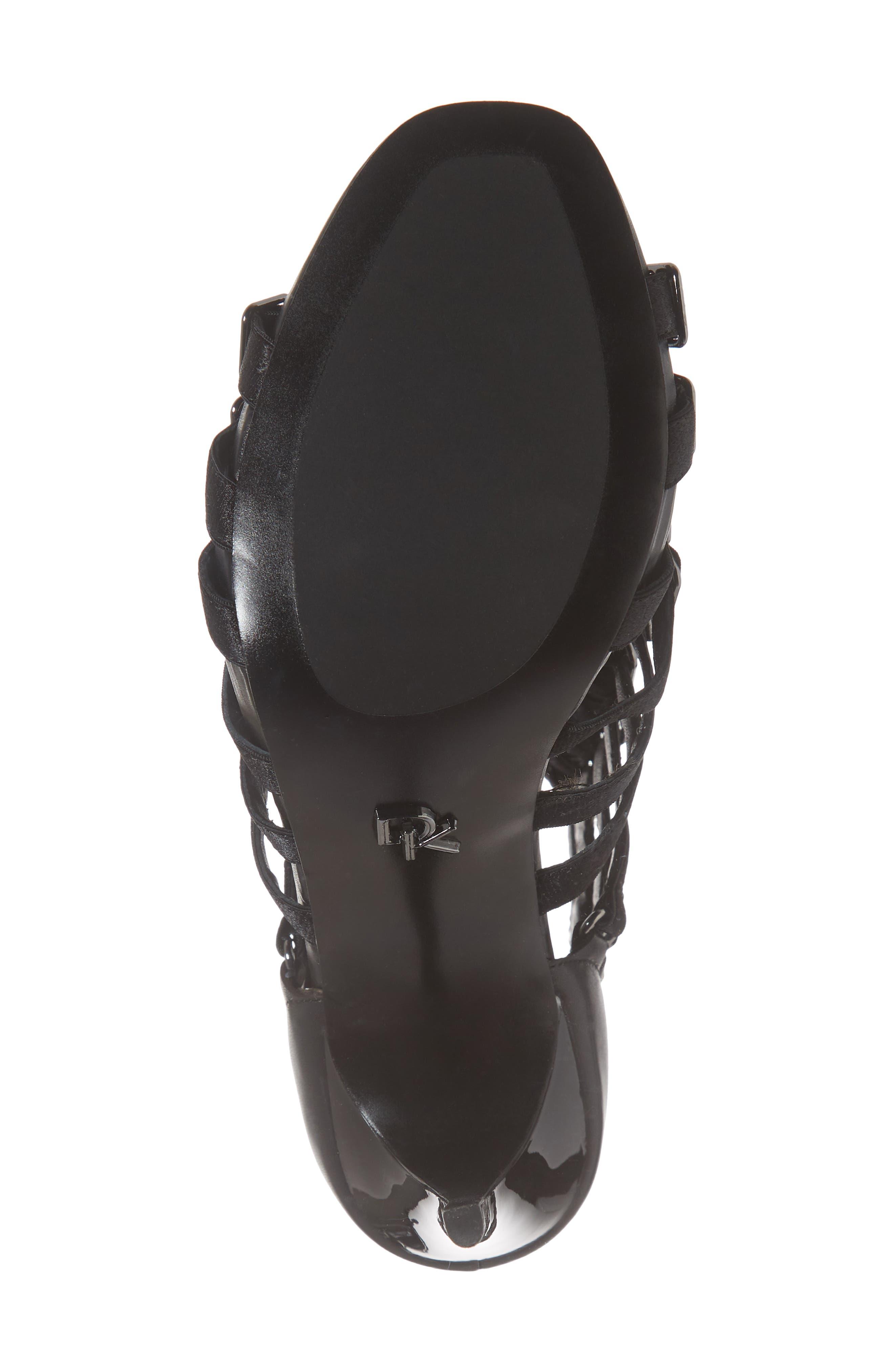 Donna Karan Kat High Sandal,                             Alternate thumbnail 6, color,                             BLACK CALF/ SATIN