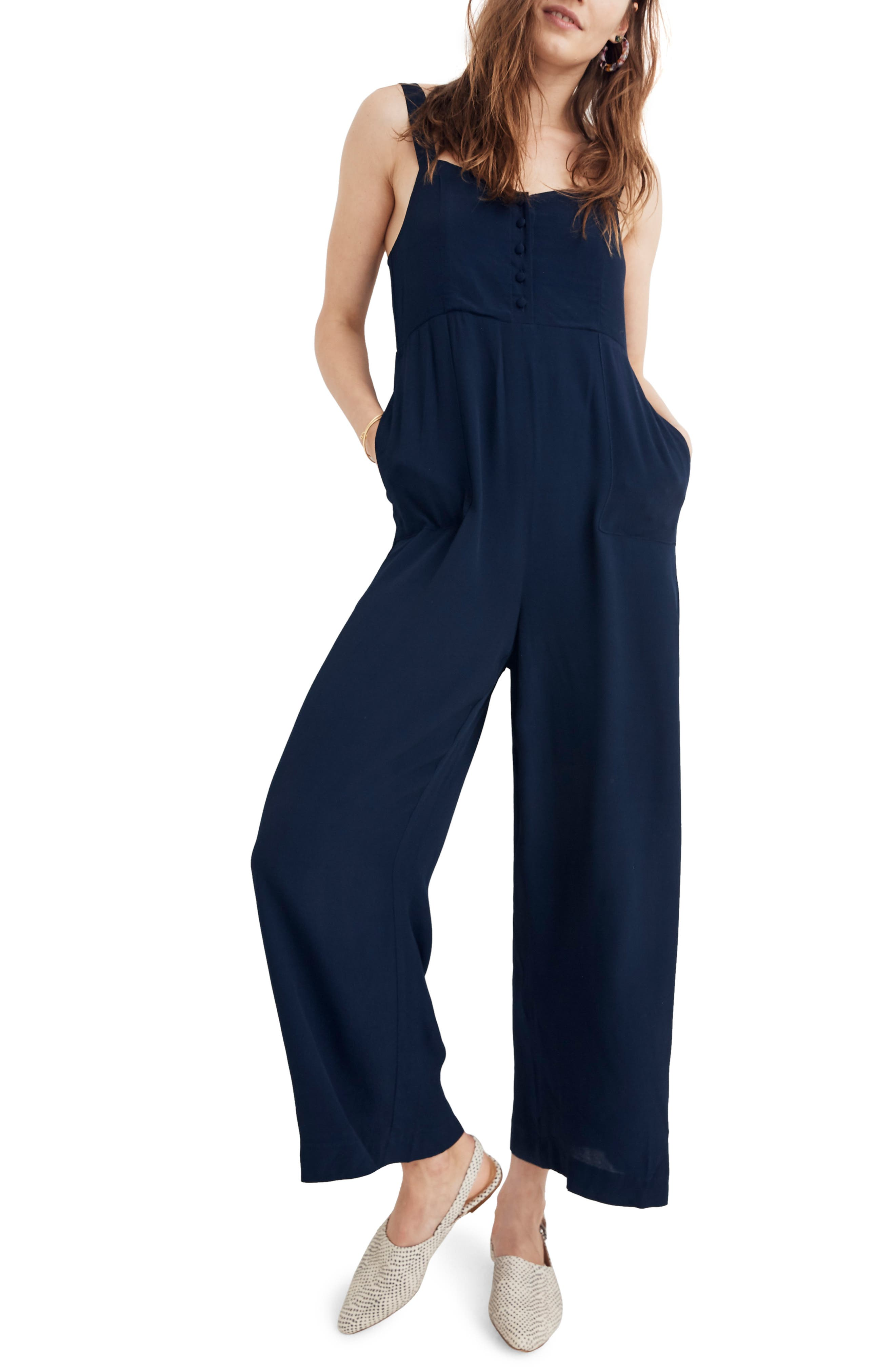 MADEWELL Button Front Wide Leg Jumpsuit, Main, color, 400