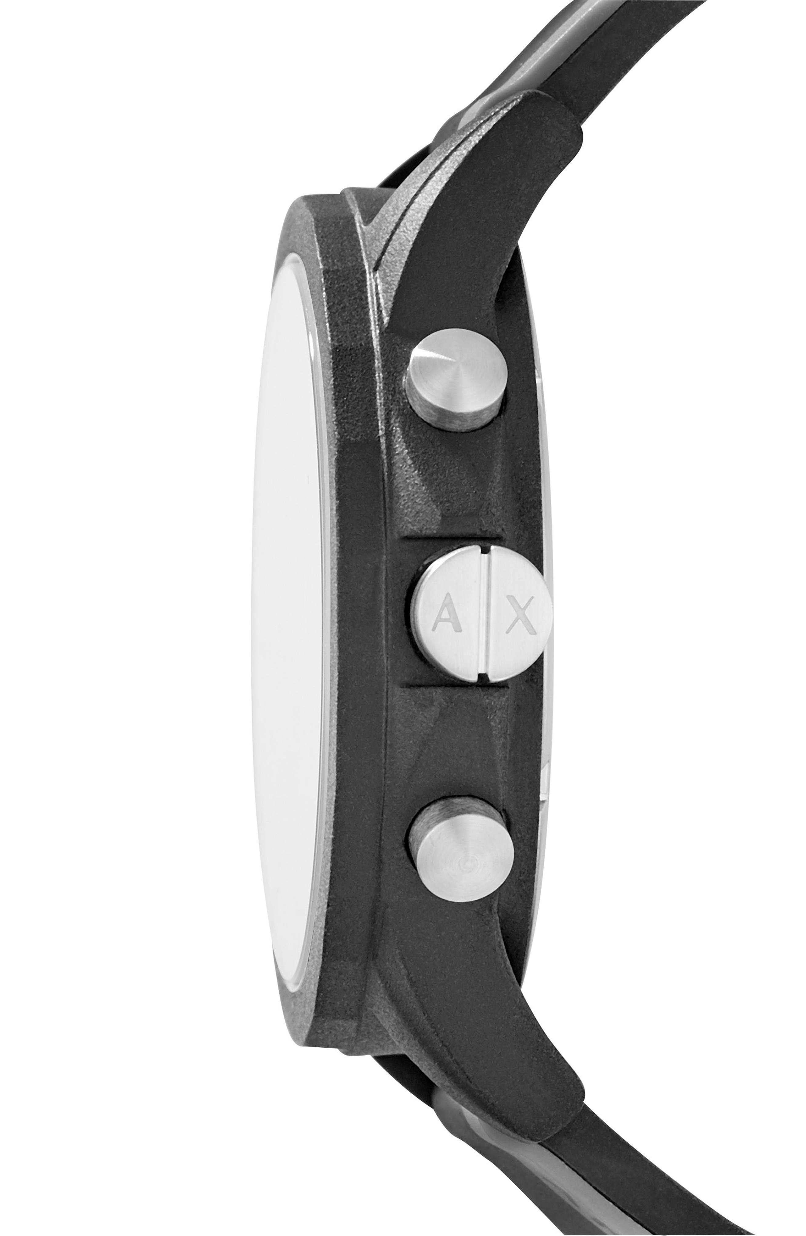 Chronograph Stripe Silicone Strap Watch, 45mm,                             Alternate thumbnail 2, color,                             001