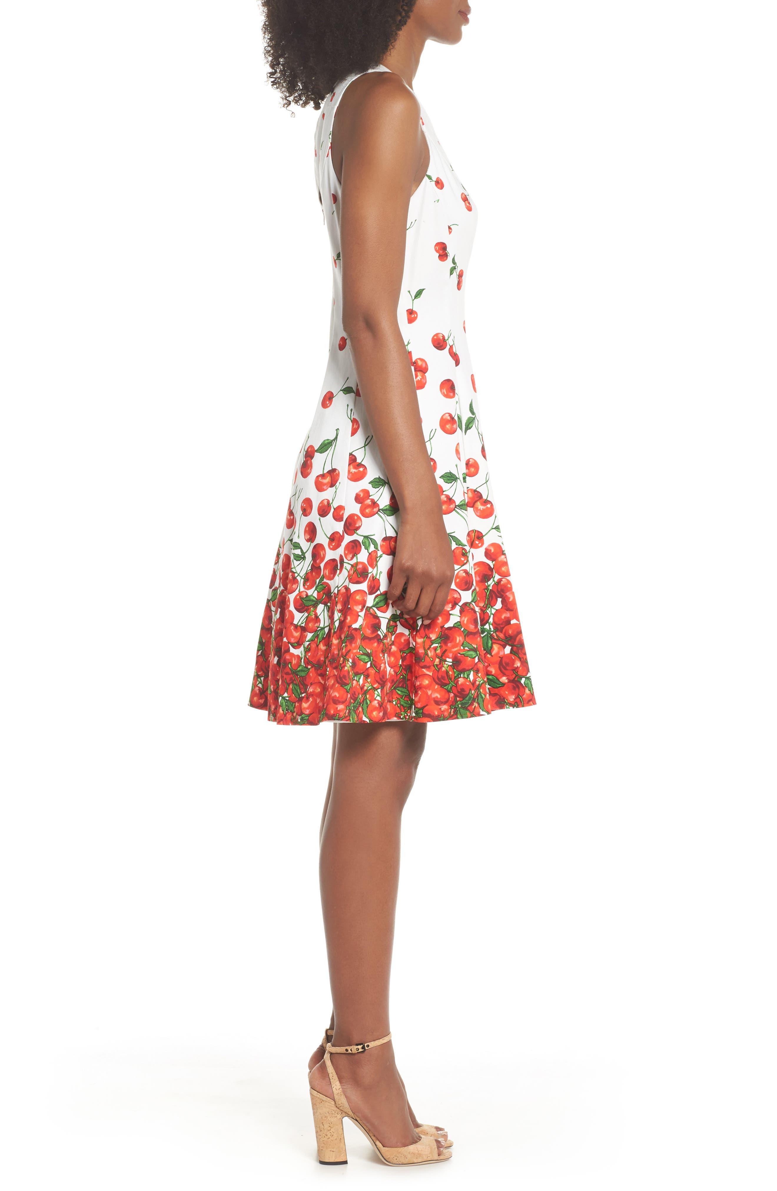 Print Fit & Flare Dress,                             Alternate thumbnail 3, color,                             143