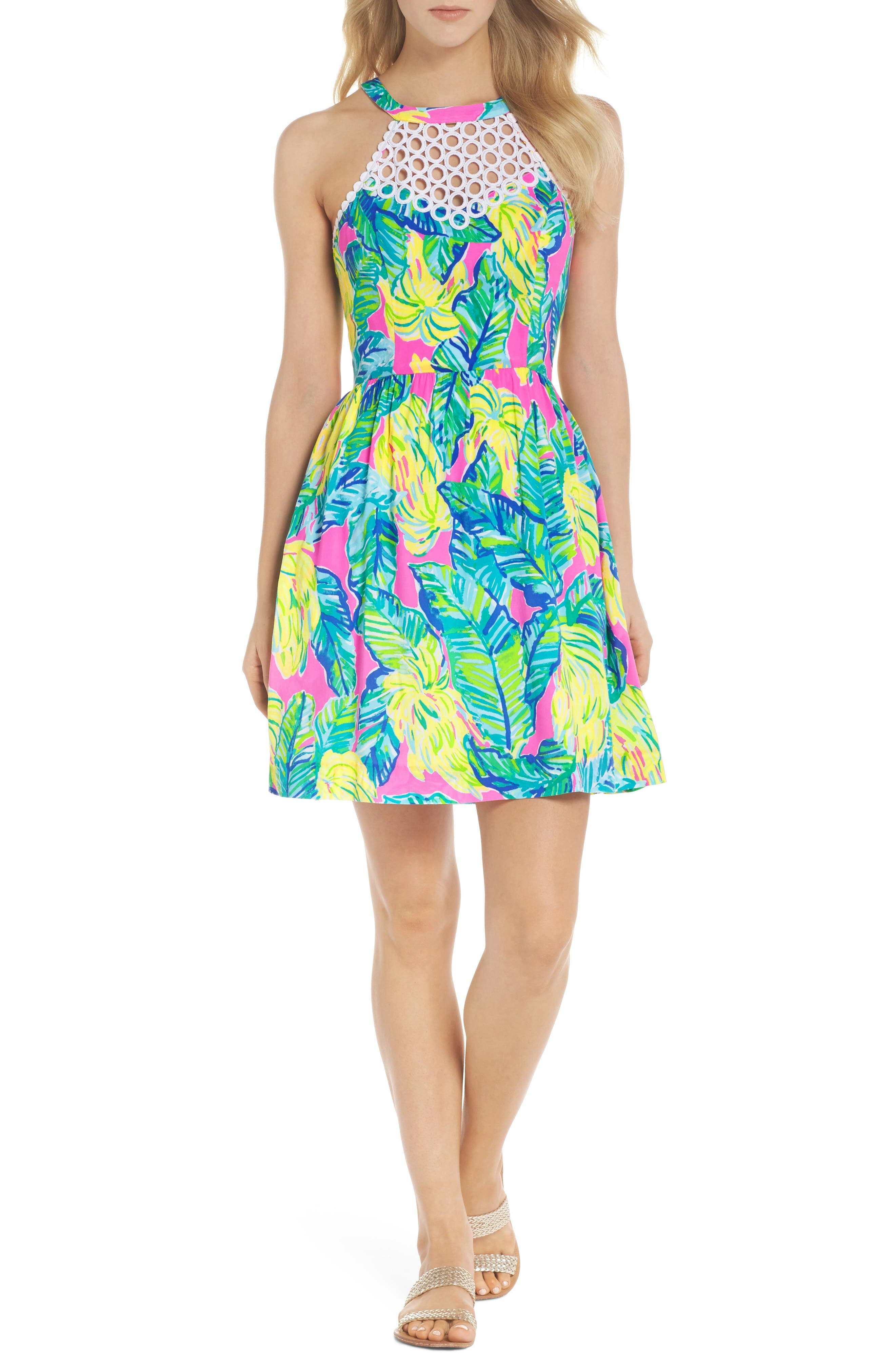 Kinley Halter Dress,                             Main thumbnail 1, color,                             PINK SUNSET LOCAL FLAVOR
