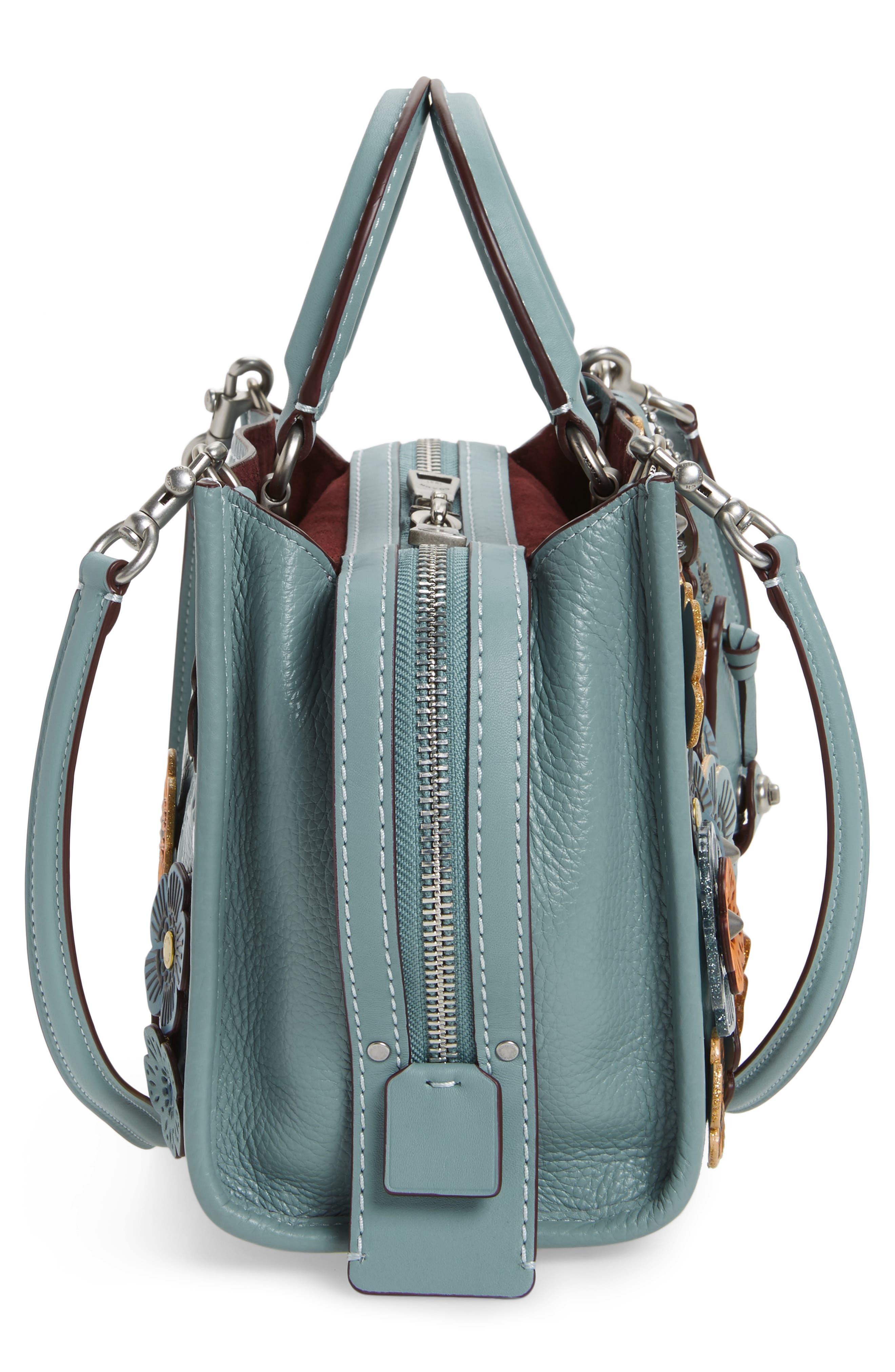 Rogue 25 Tea Rose Appliqué Leather Crossbody Bag,                             Alternate thumbnail 5, color,