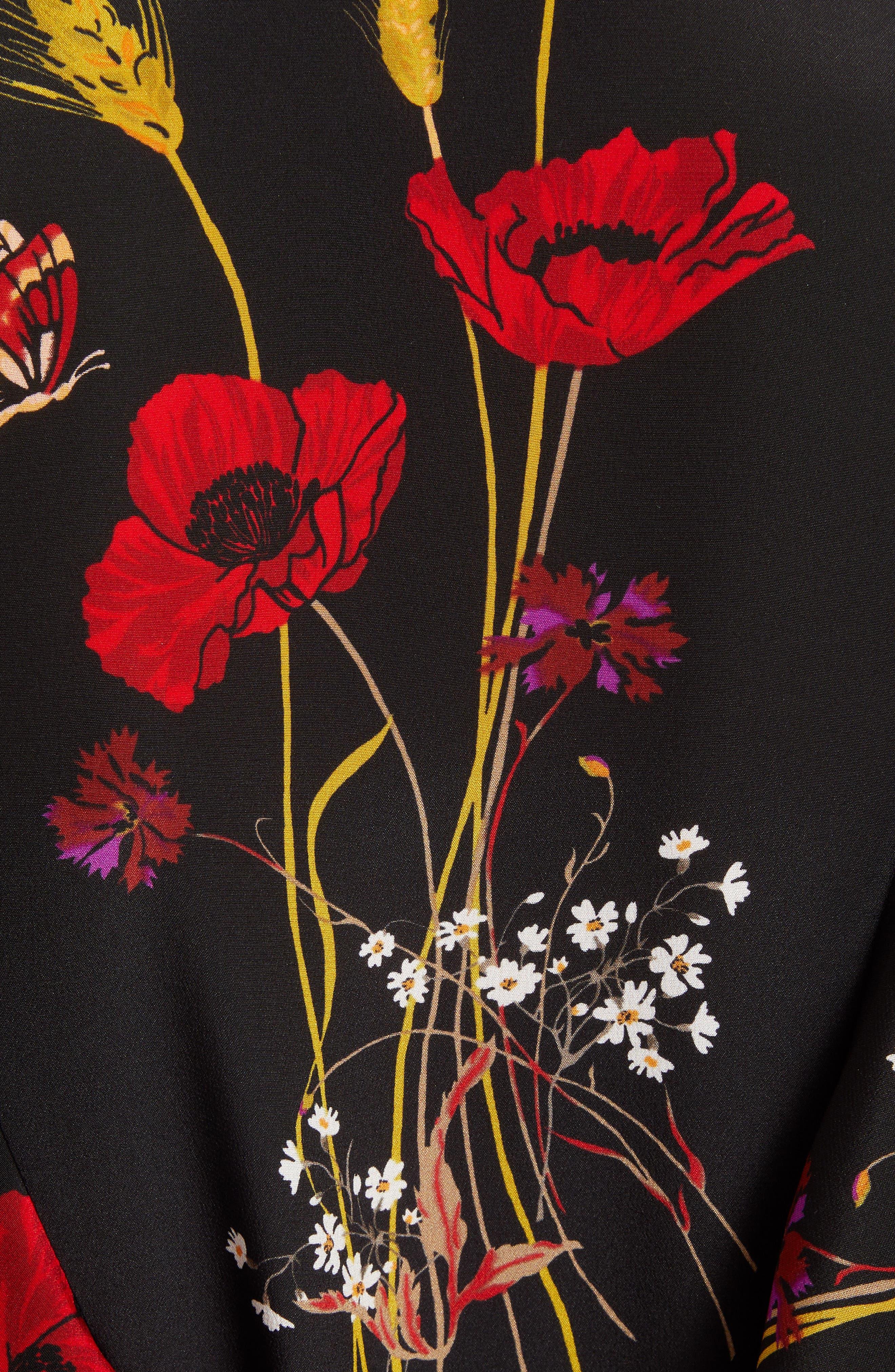 Floral Meadow Print Crêpe de Chine Faux Wrap Dress,                             Alternate thumbnail 5, color,                             BLACK/ MULTI COLOR