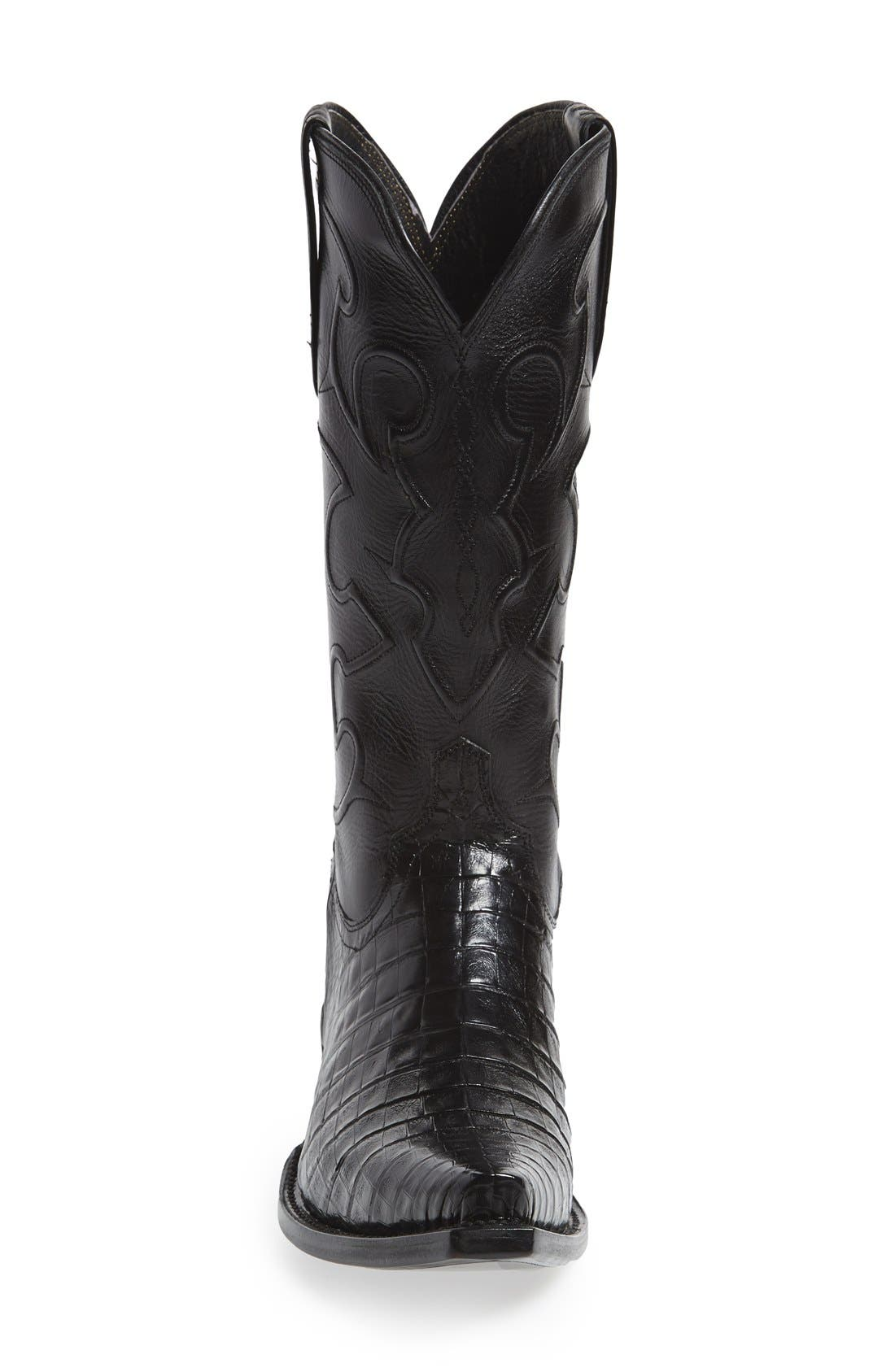 LUCCHESE,                             'Charles' Calfskin & Genuine Crocodile Leather Snip Toe Western Boot,                             Alternate thumbnail 2, color,                             002