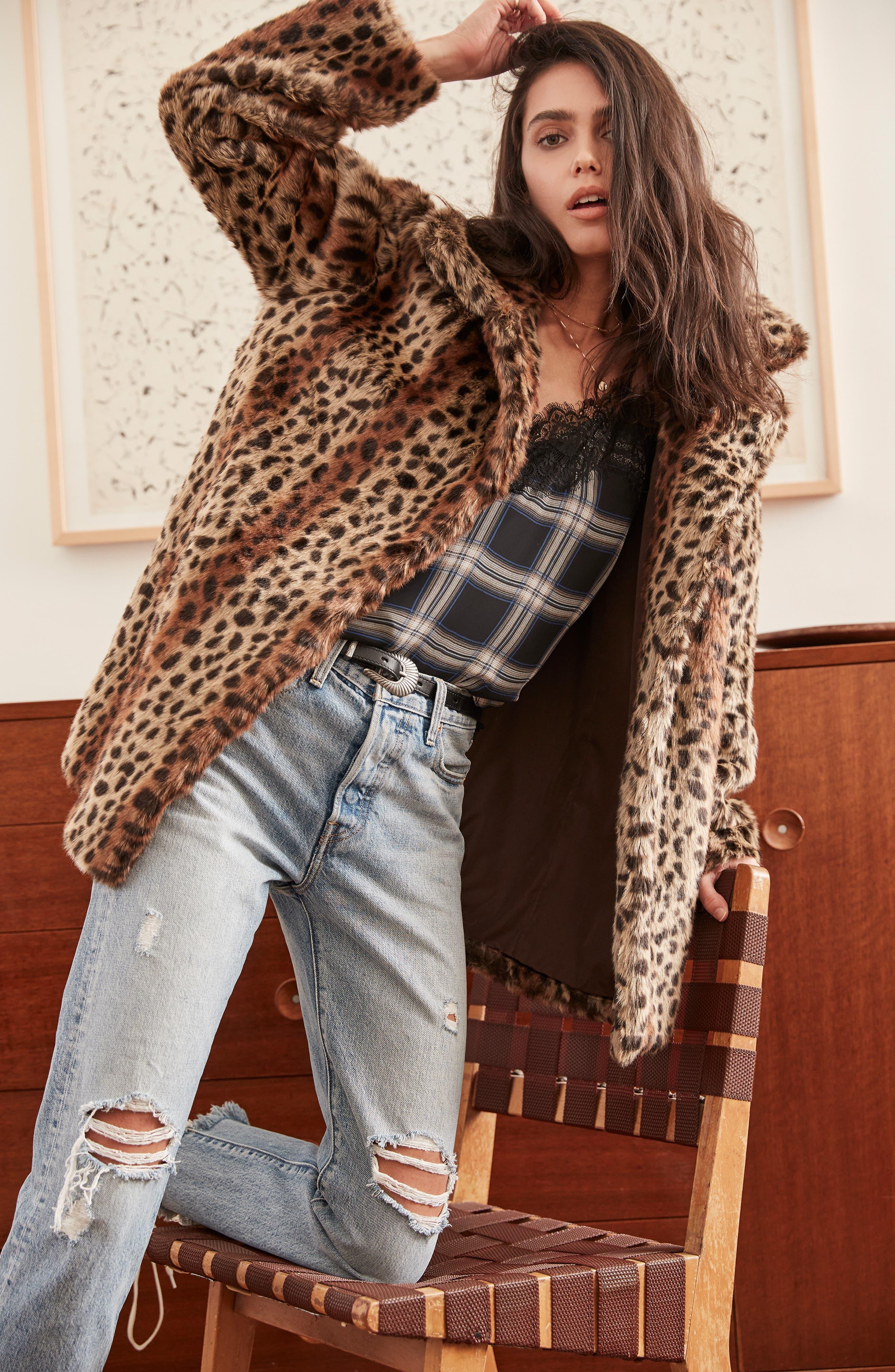 Mika Leopard Faux Fur Jacket,                             Alternate thumbnail 10, color,                             200