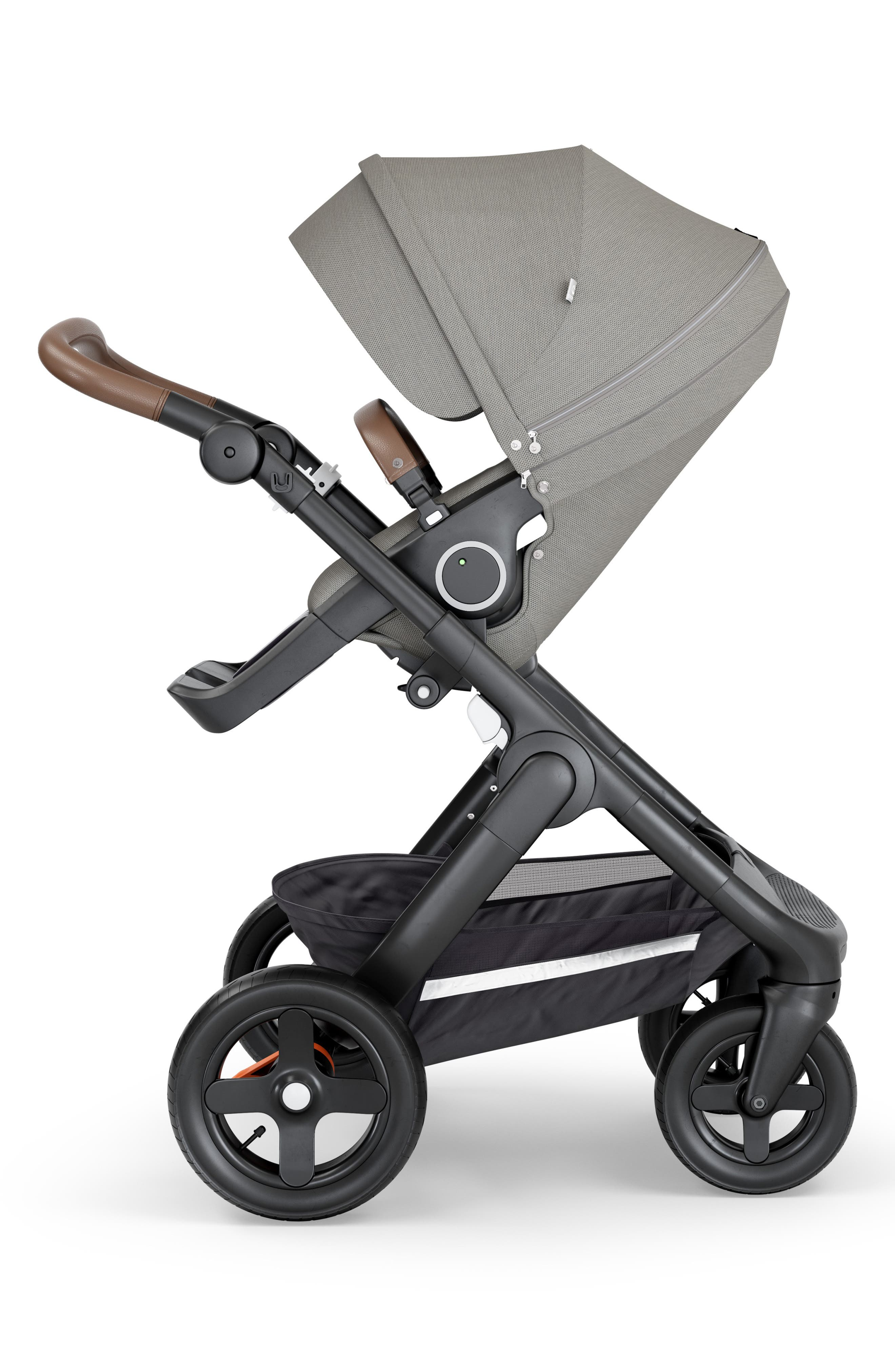 STOKKE,                             Trailz<sup>™</sup> All Terrain Black Chassis/Brown Faux Leather Handle Stroller,                             Alternate thumbnail 2, color,                             BRUSHED GREY