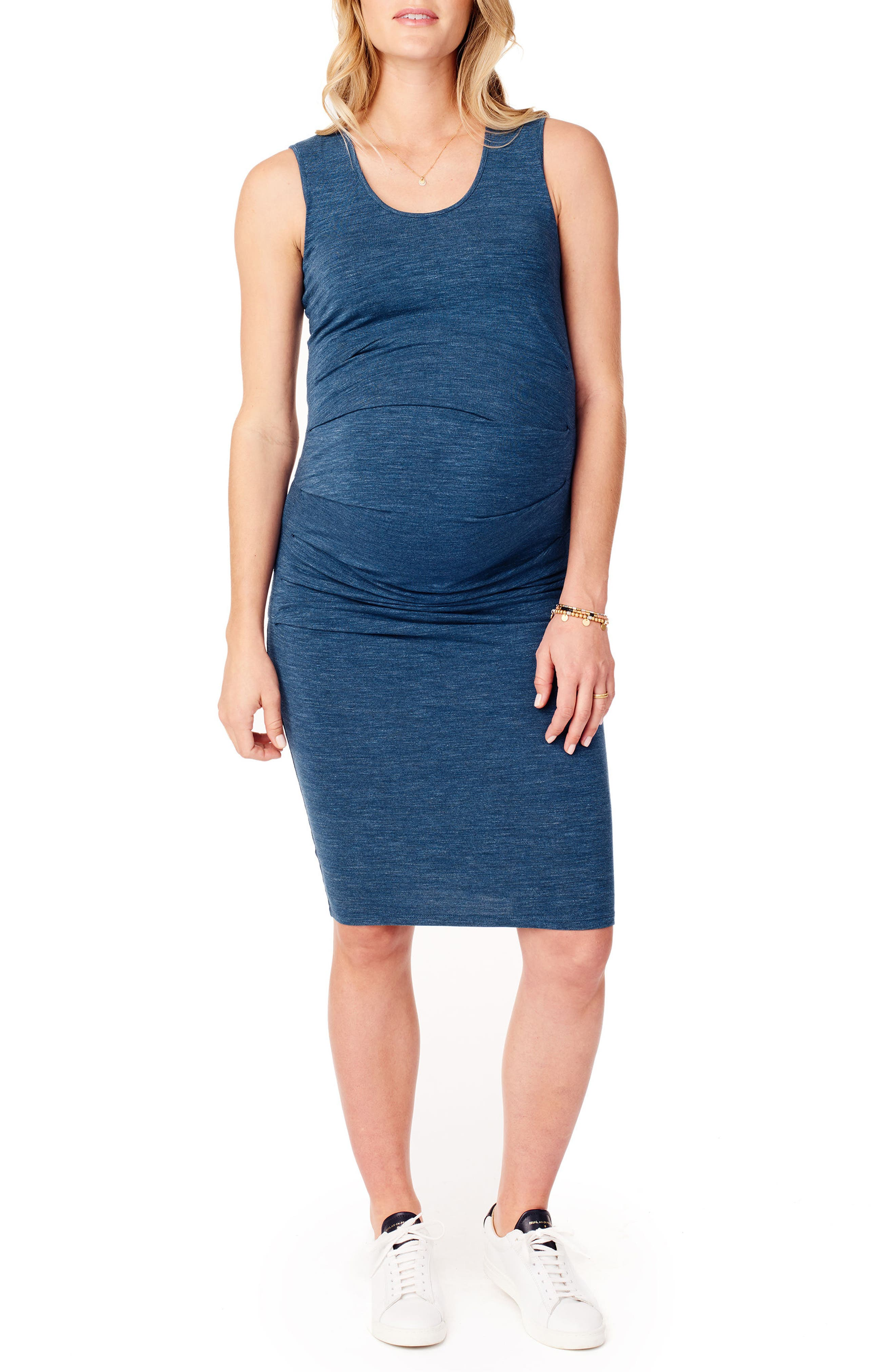 Ruched Maternity Tank Dress,                             Main thumbnail 1, color,                             INDIGO HEATHER