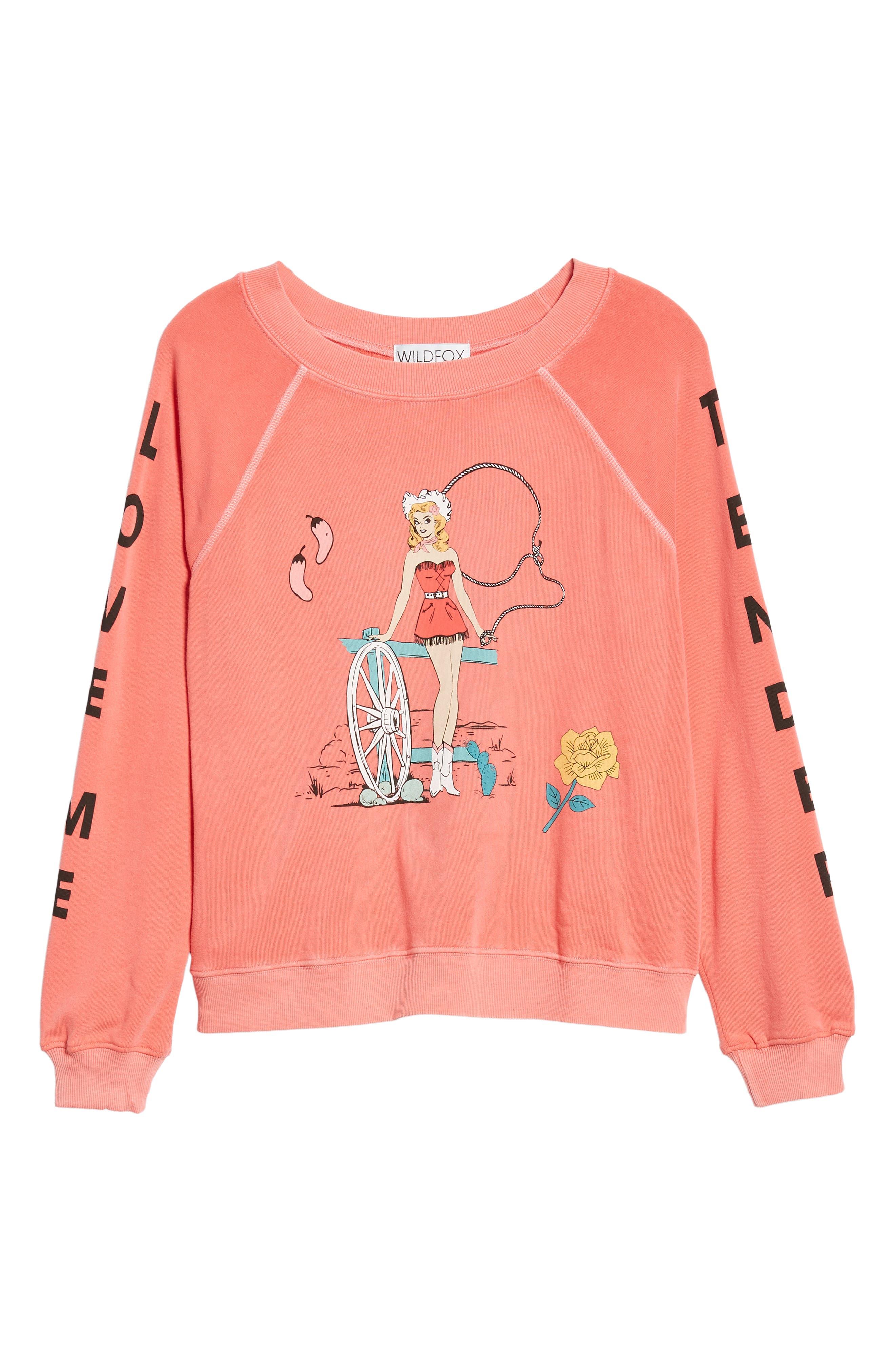 Love Me Tender Sommers Sweatshirt,                             Alternate thumbnail 6, color,                             PIGMENT HOT LIPSTICK