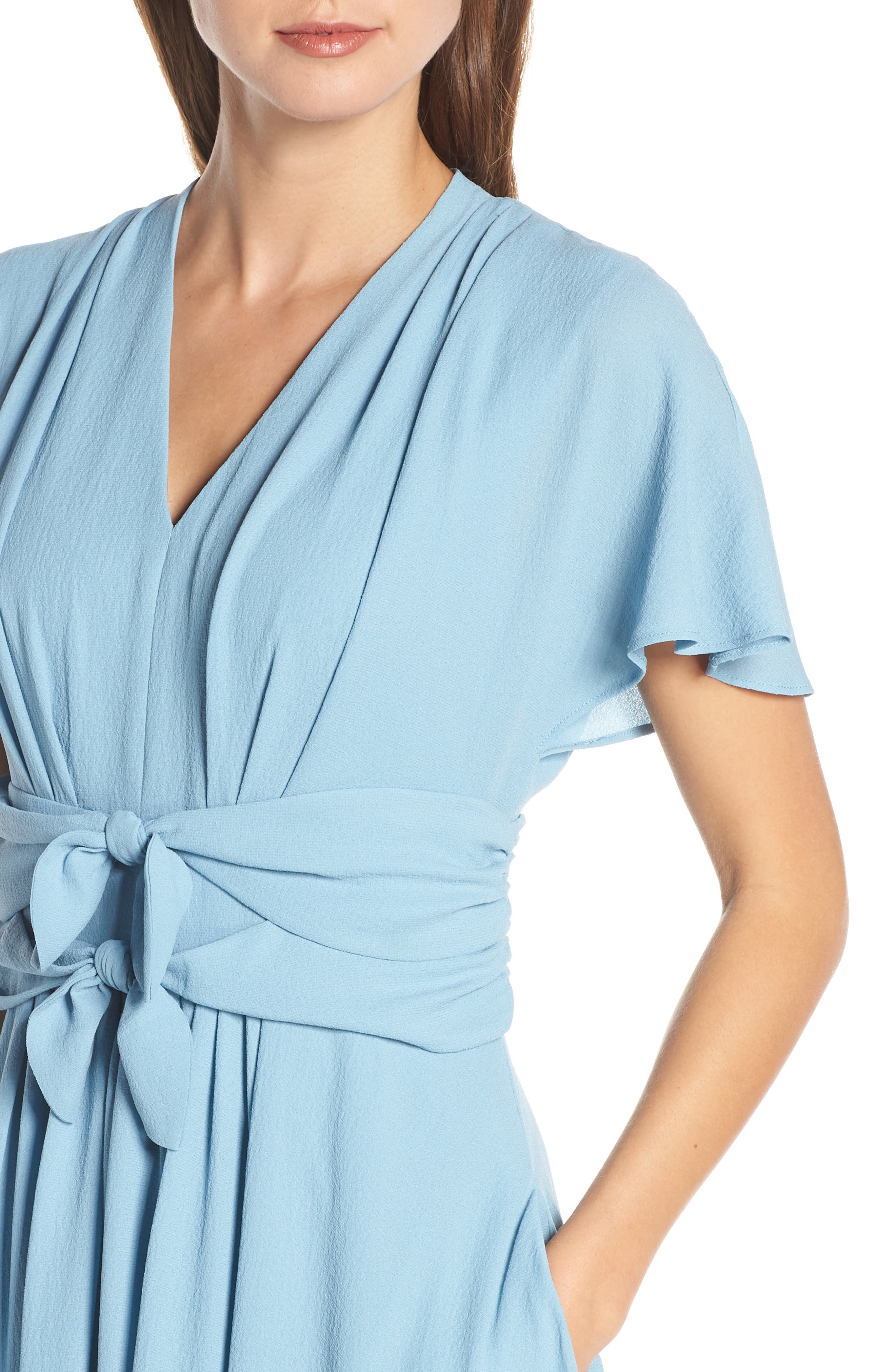 GAL MEETS GLAM COLLECTION,                             Jane Tie Waist Midi Dress,                             Alternate thumbnail 5, color,                             STEEL BLUE