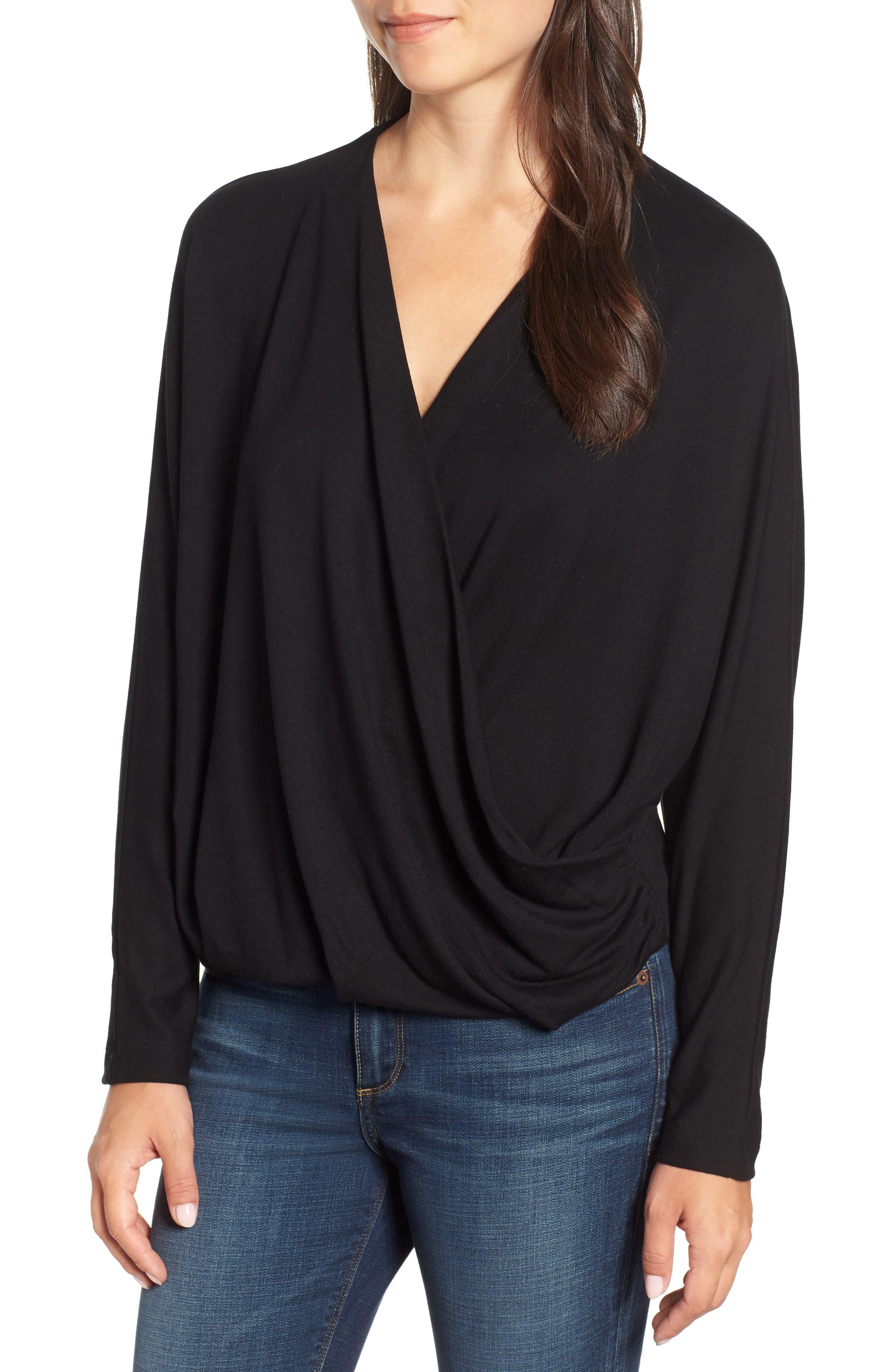 Drape Front Dolman Sleeve Top,                         Main,                         color, BLACK