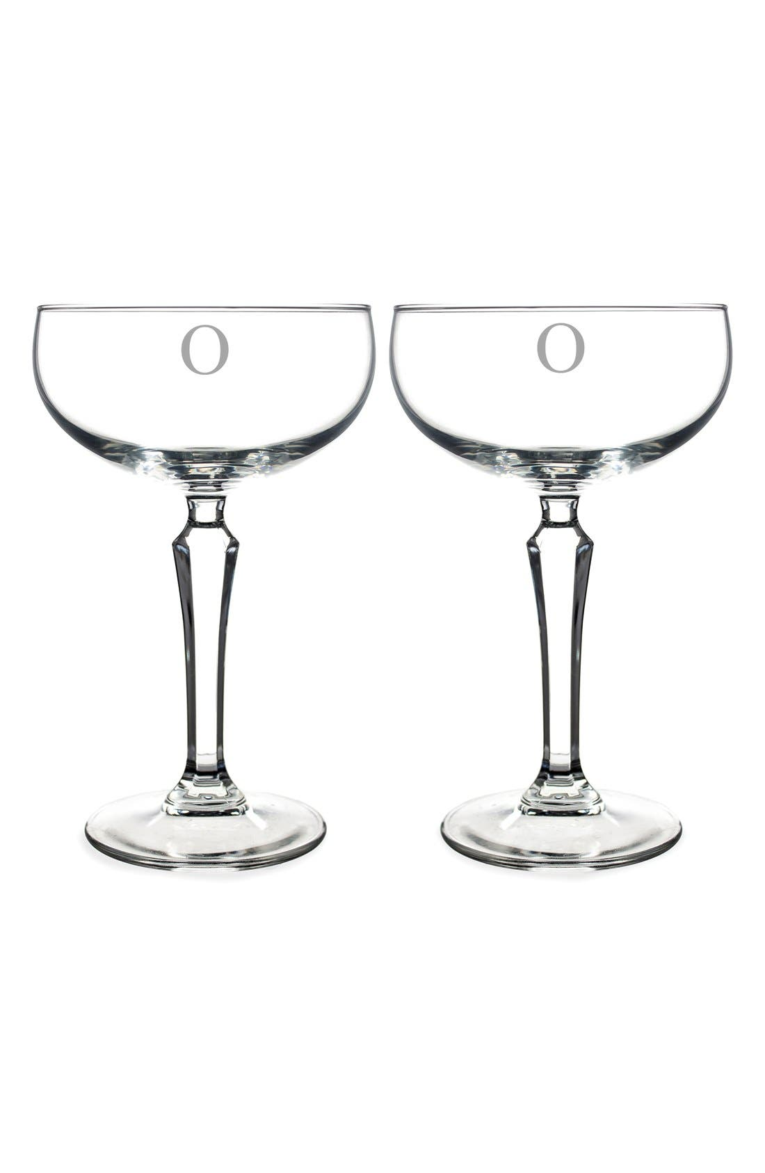 Monogram Coupe Cocktail/Champagne Glasses,                             Main thumbnail 17, color,