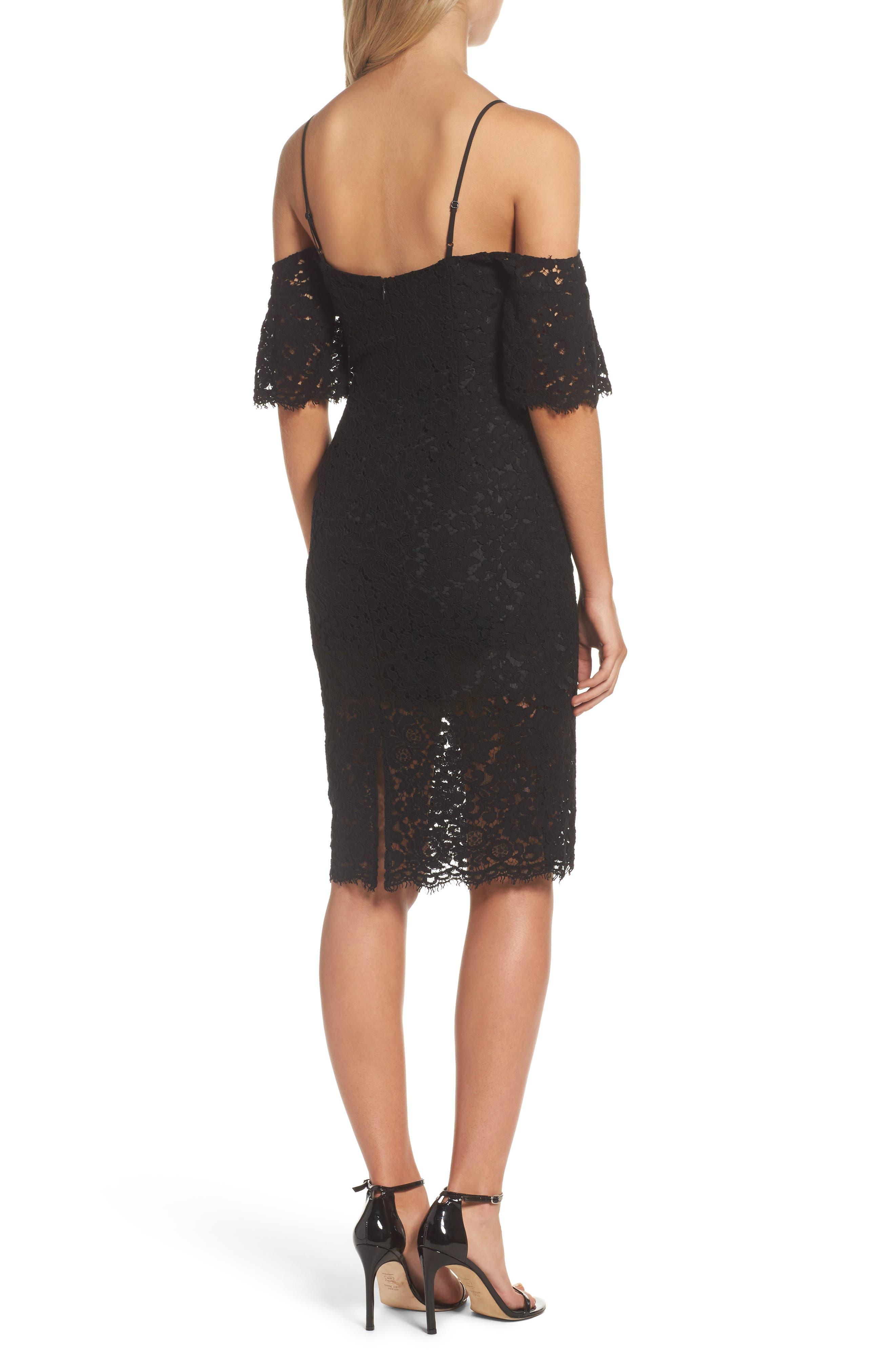 Karlie Cold Shoulder Lace Dress,                             Alternate thumbnail 2, color,                             001