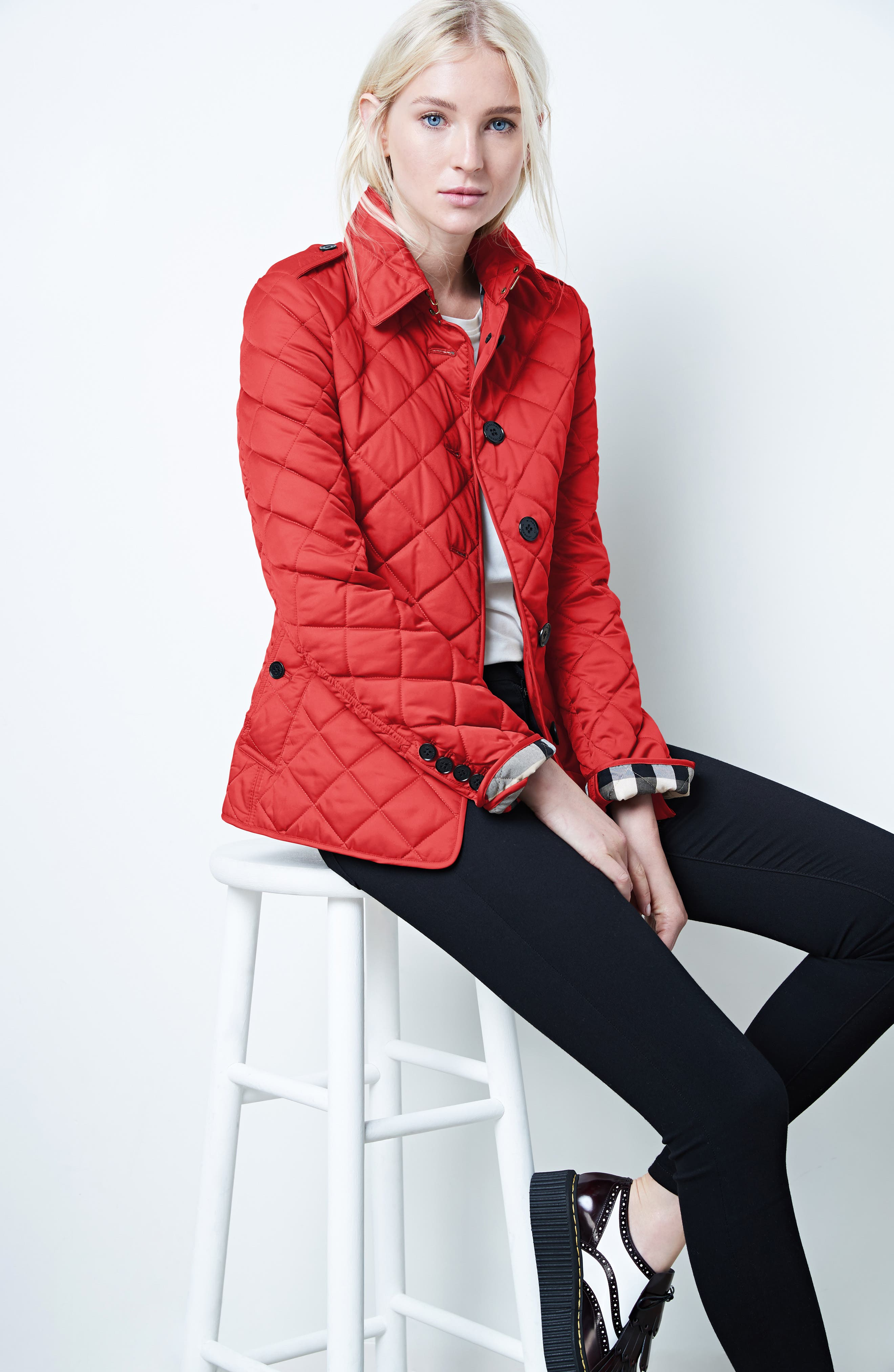 Frankby Quilted Jacket,                             Alternate thumbnail 8, color,                             PARADE RED