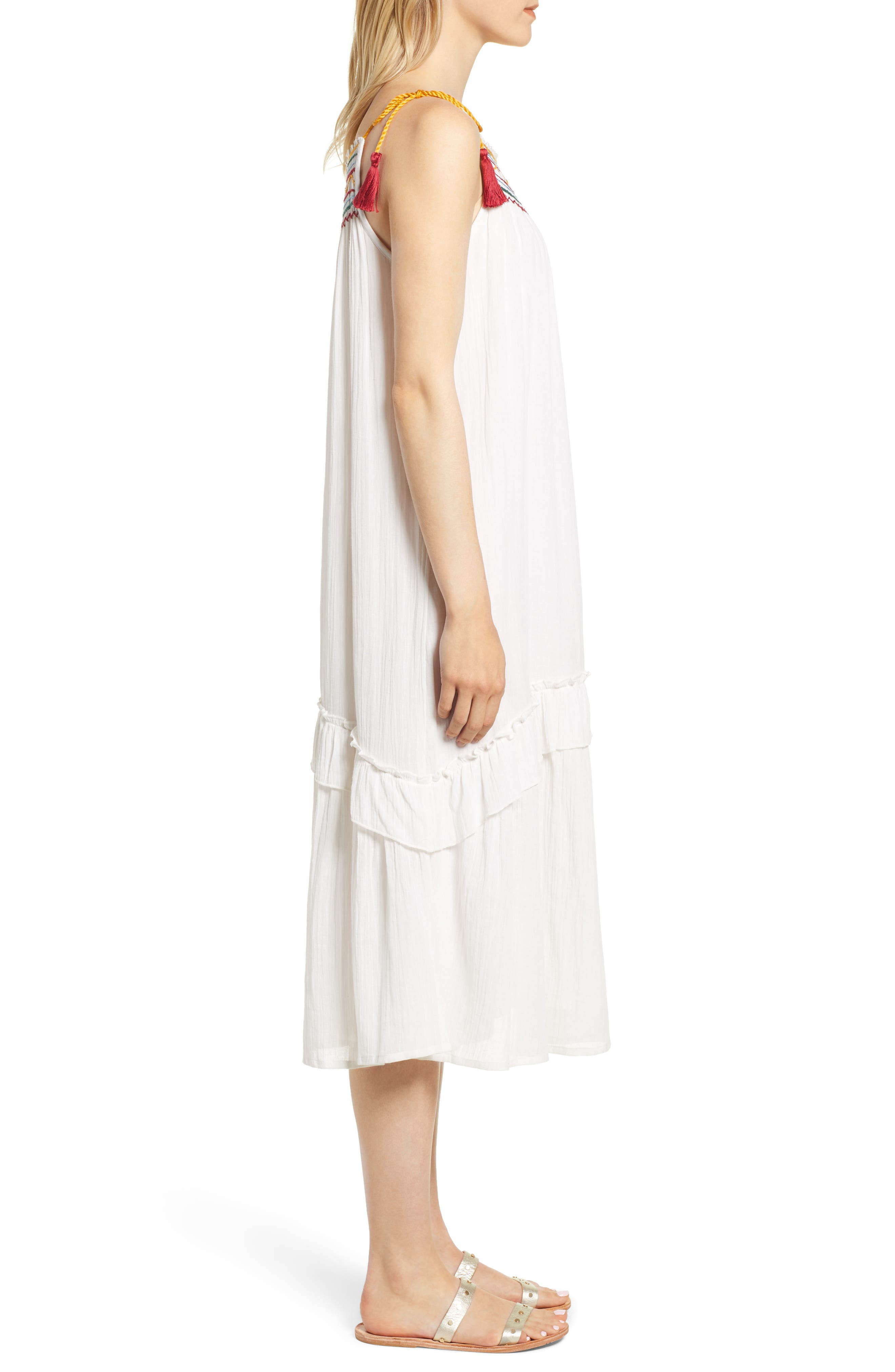 Embroidered Gauze Midi Dress,                             Alternate thumbnail 3, color,                             124