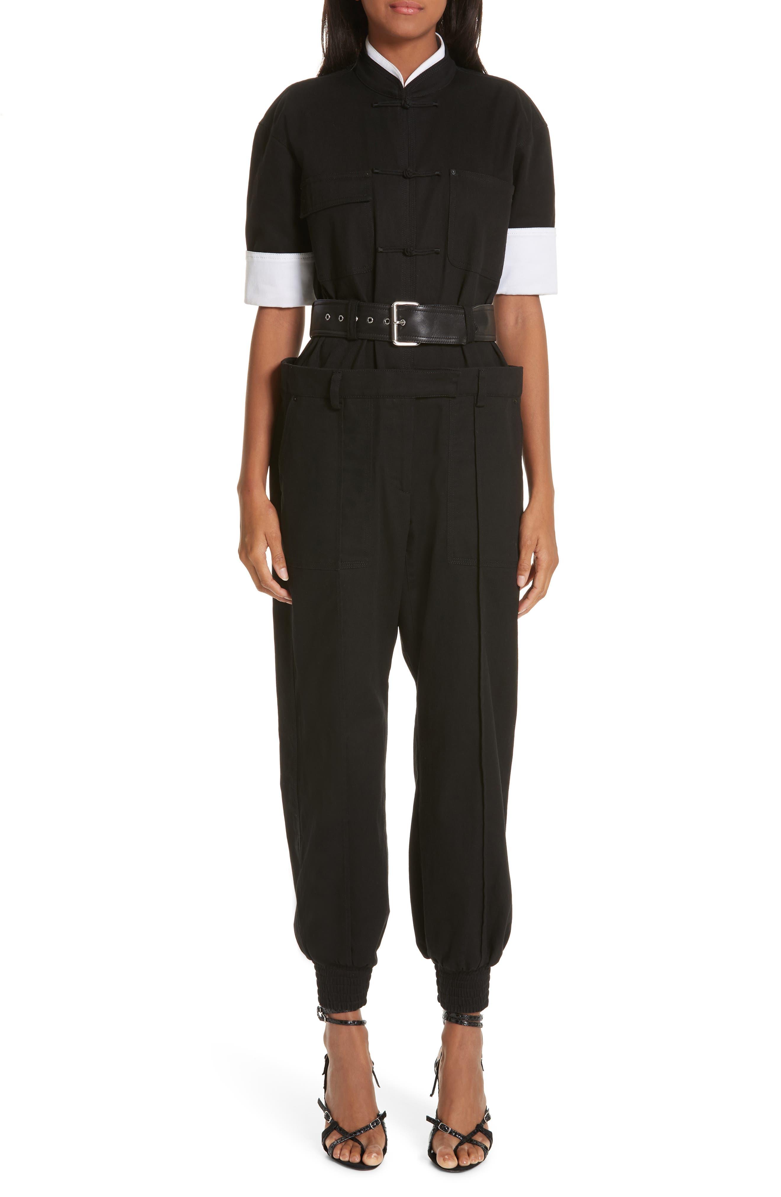 Layered Utility Jumpsuit, Main, color, BLACK