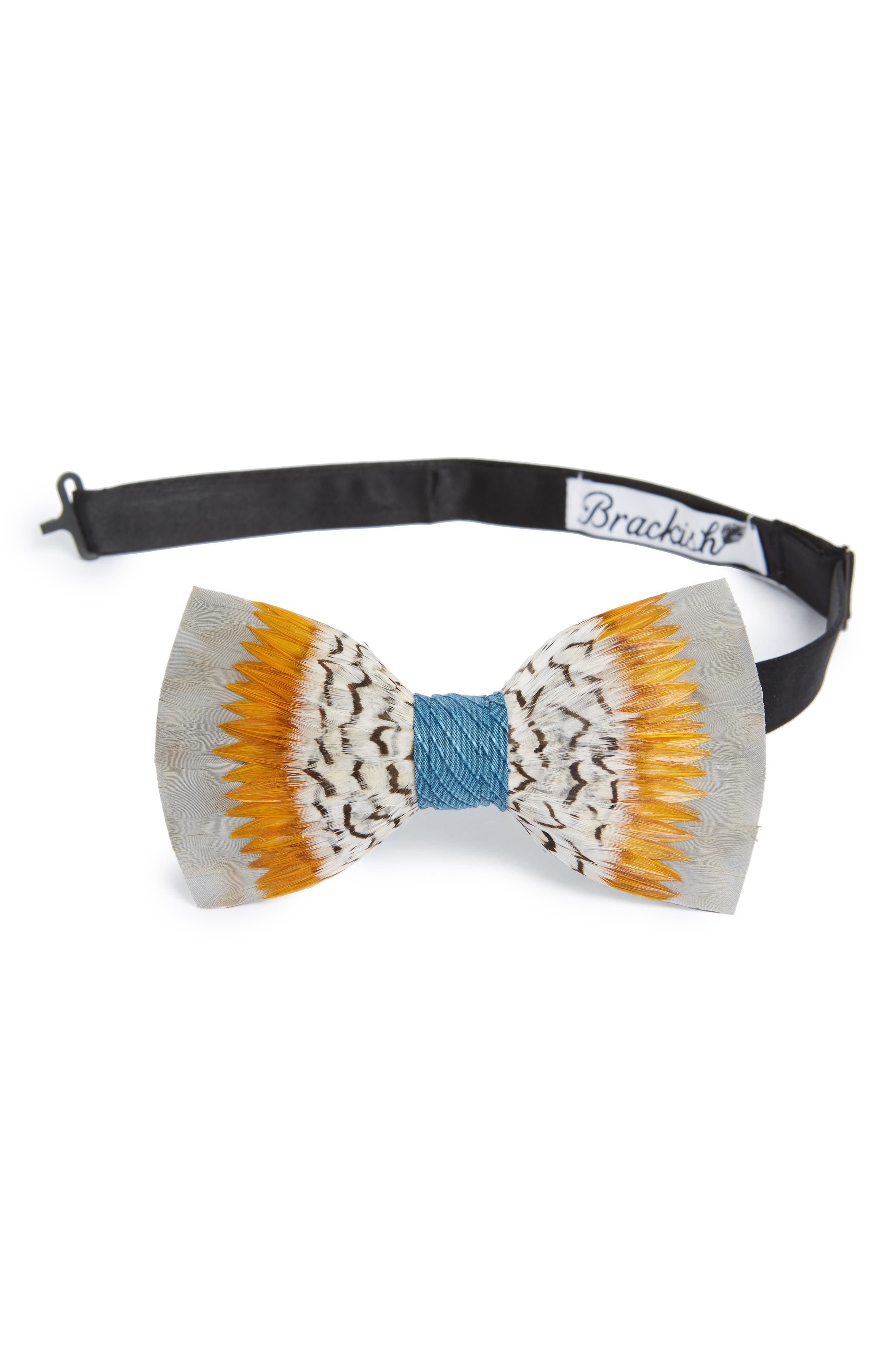 Stono Feather Bow Tie,                         Main,                         color, YELLOW/ GREY